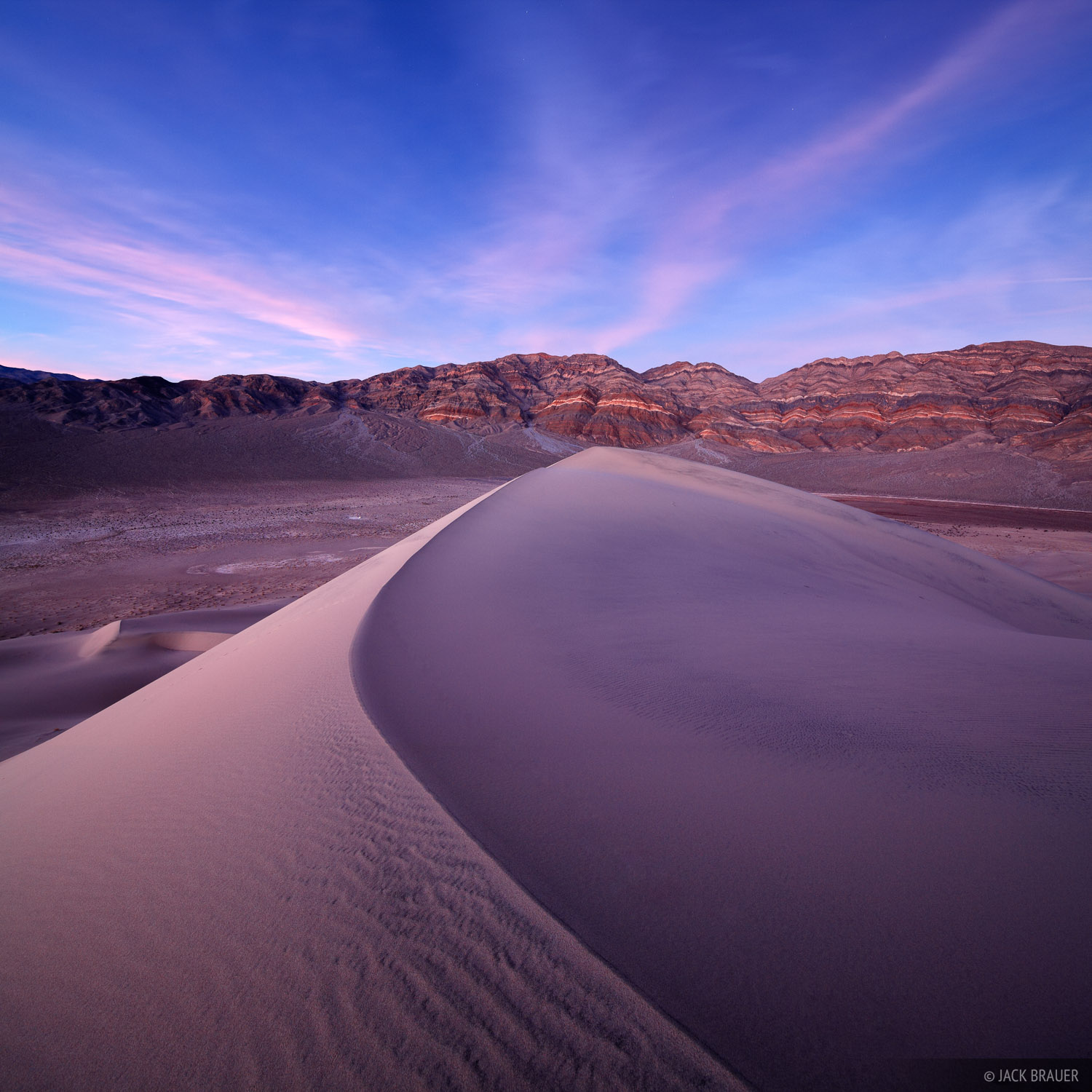 Dusk light atop Eureka Dunes - October.