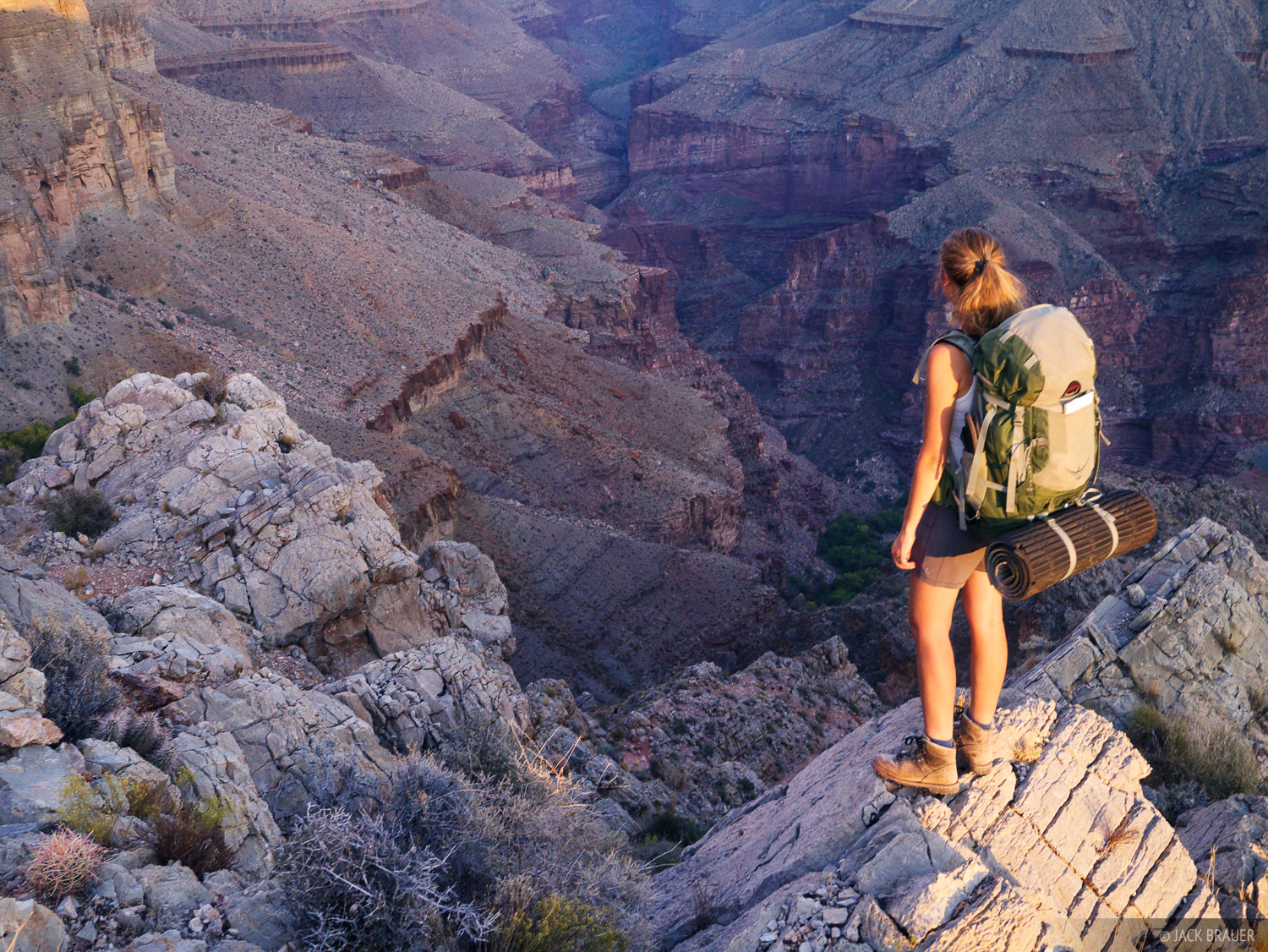Claudia gazes into the Tapeats Creek canyon, a side canyon of the Grand Canyon.