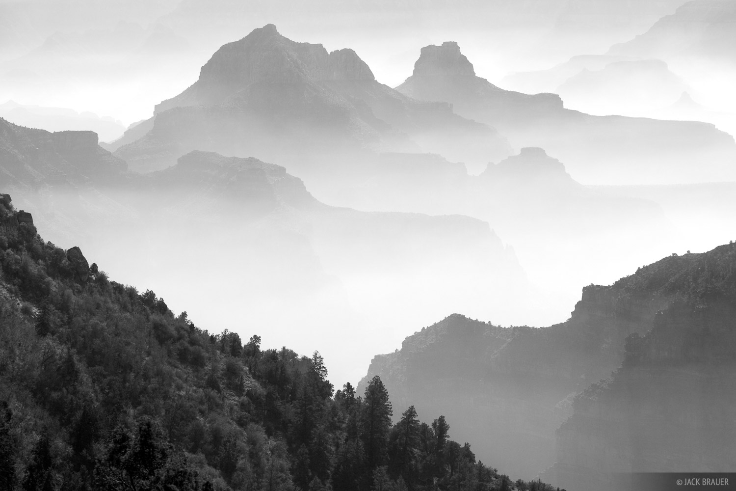 North Rim, hazy, Grand Canyon, Arizona, burn, November, photo