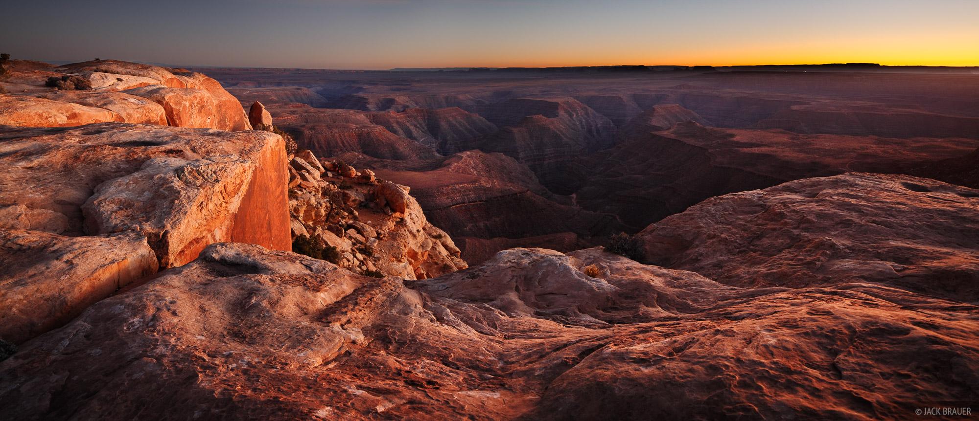 Cedar Mesa, Utah, Goosenecks, San Juan River, sunset, panorama, photo