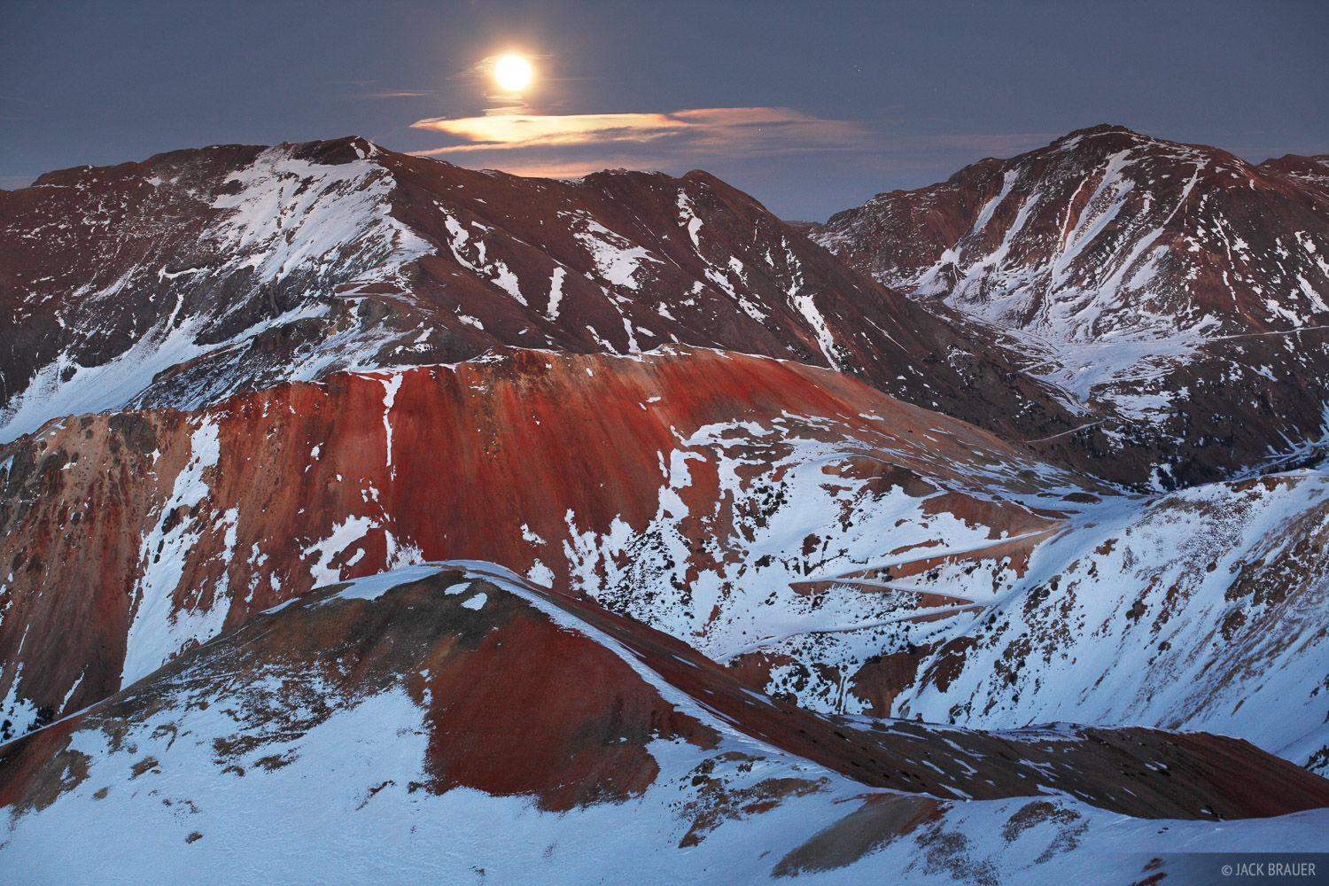 A full moon rises over Brown Mountain, as seen from the summit of Red 3, November.