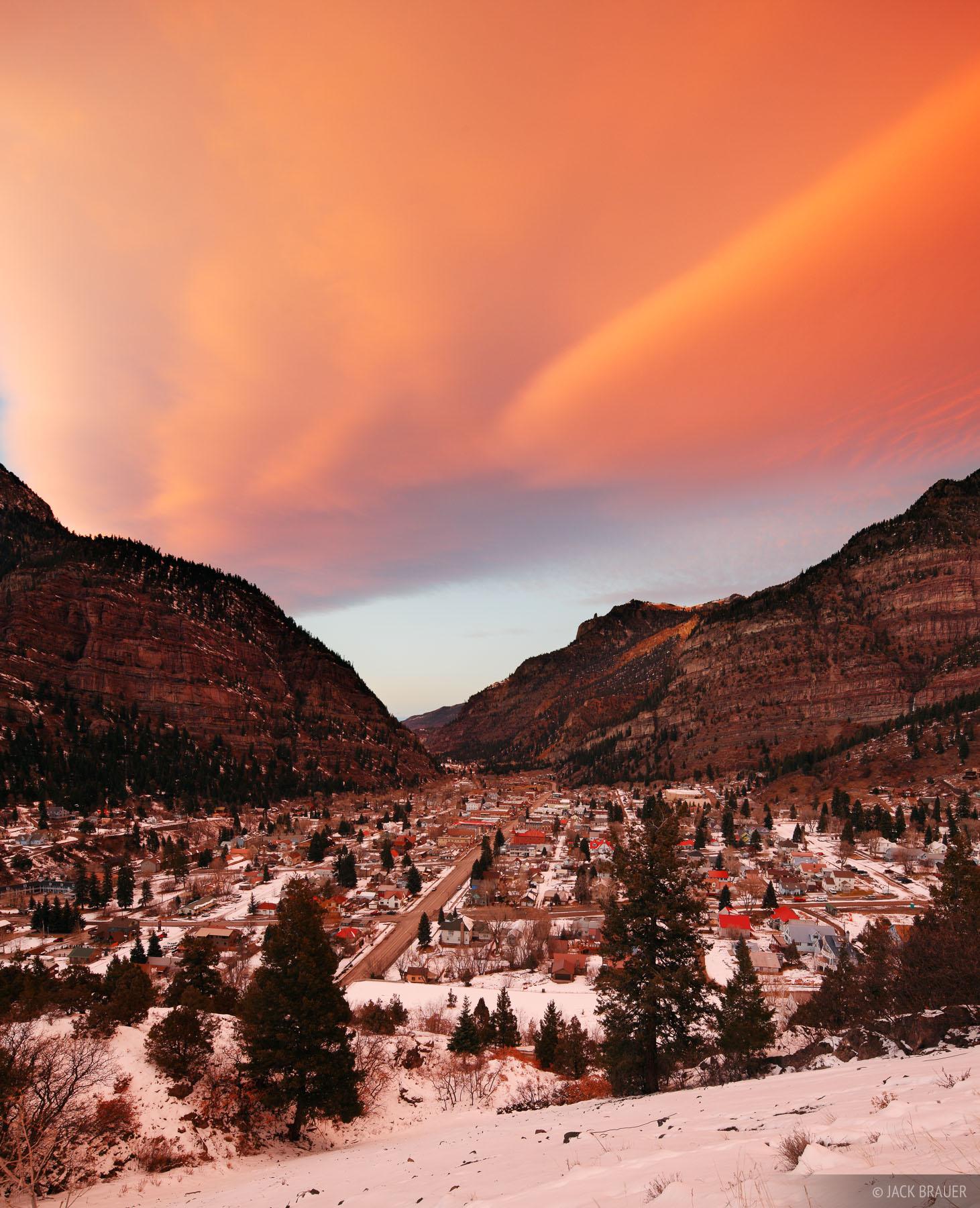 Ouray, Colorado, sunset, San Juan Mountains, December, photo
