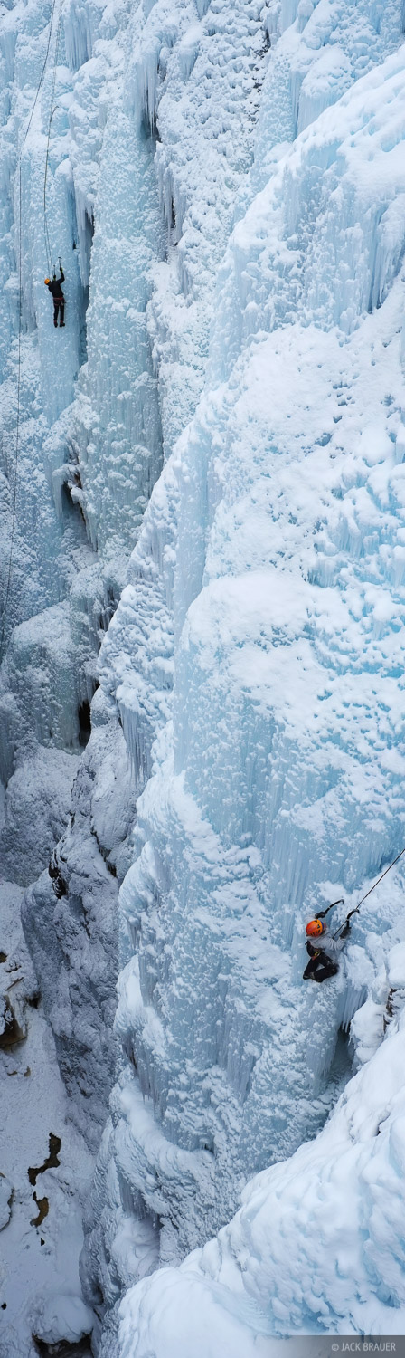 Ouray Ice Park, Colorado, ice climbers, climbing, ice, panorama, photo