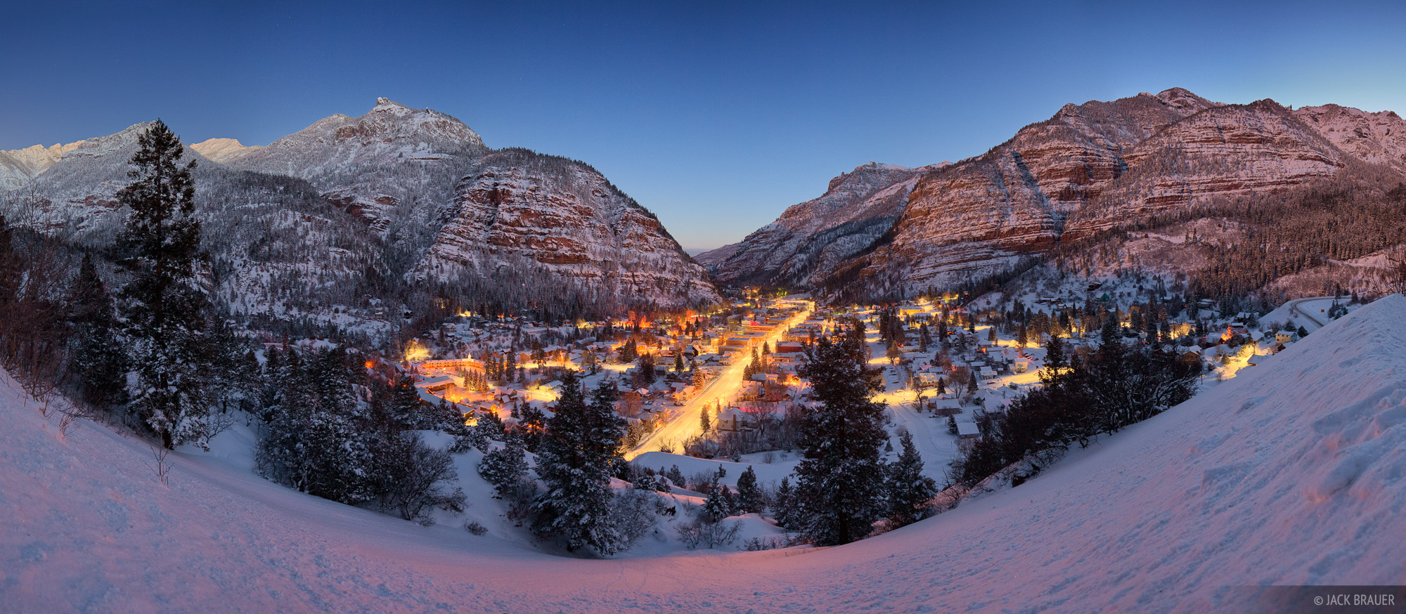 Ouray, San Juan mountains, Colorado, winter, panorama, dawn, february, lights, photo