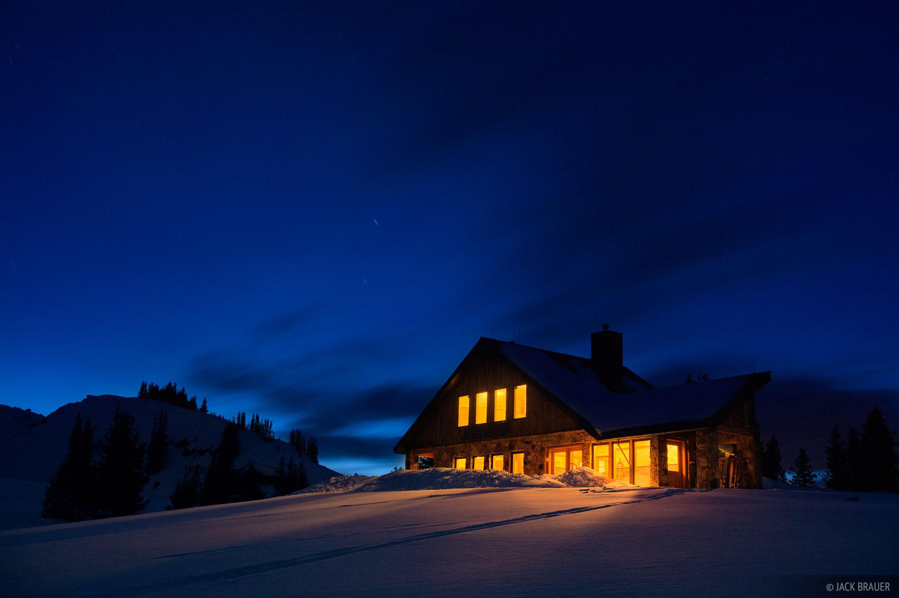 Fowler, Hilliard, hut, dusk, march, Colorado, Gore Range, photo