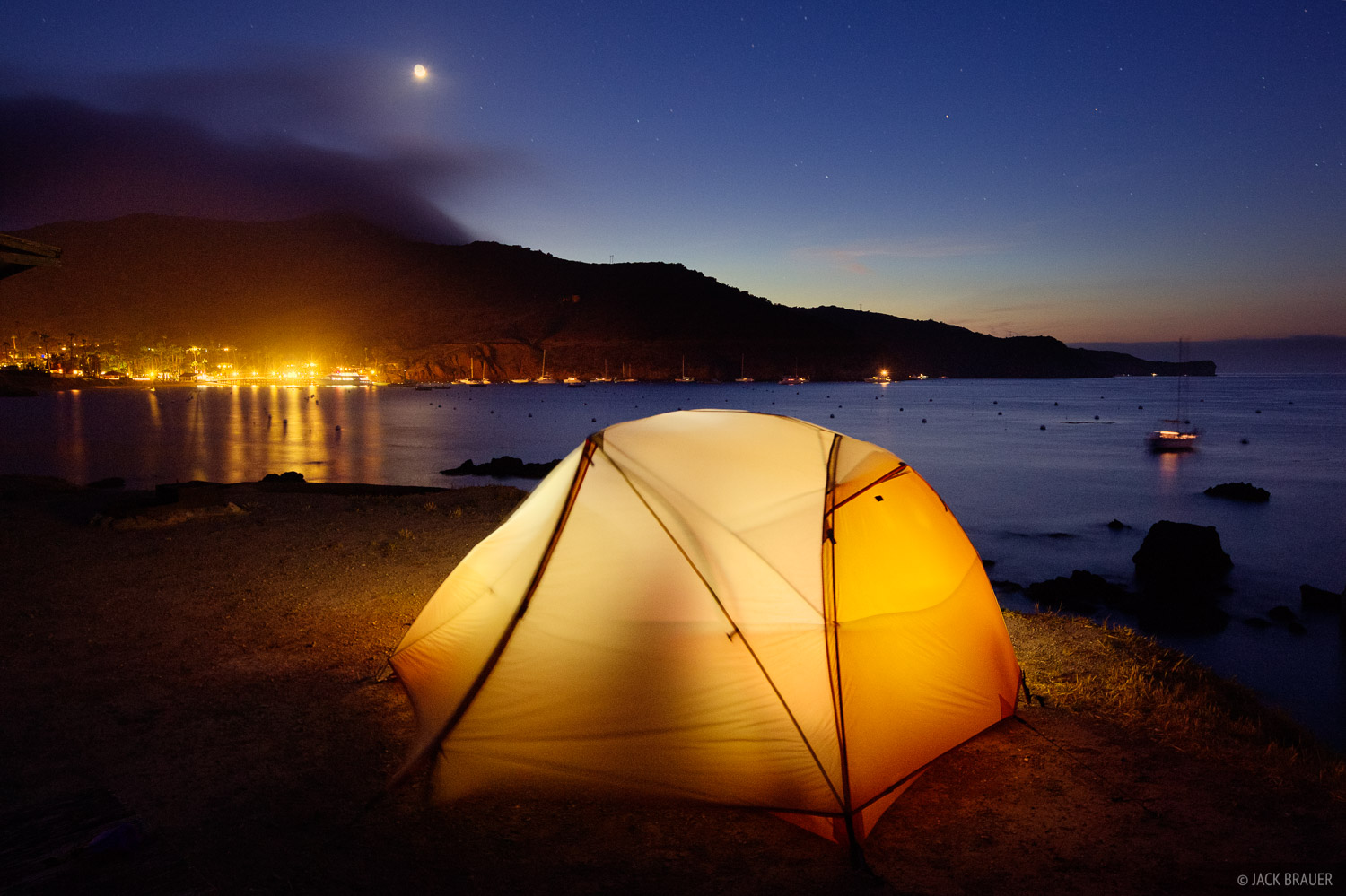 Camping along Isthmus Cove at Two Harbors.