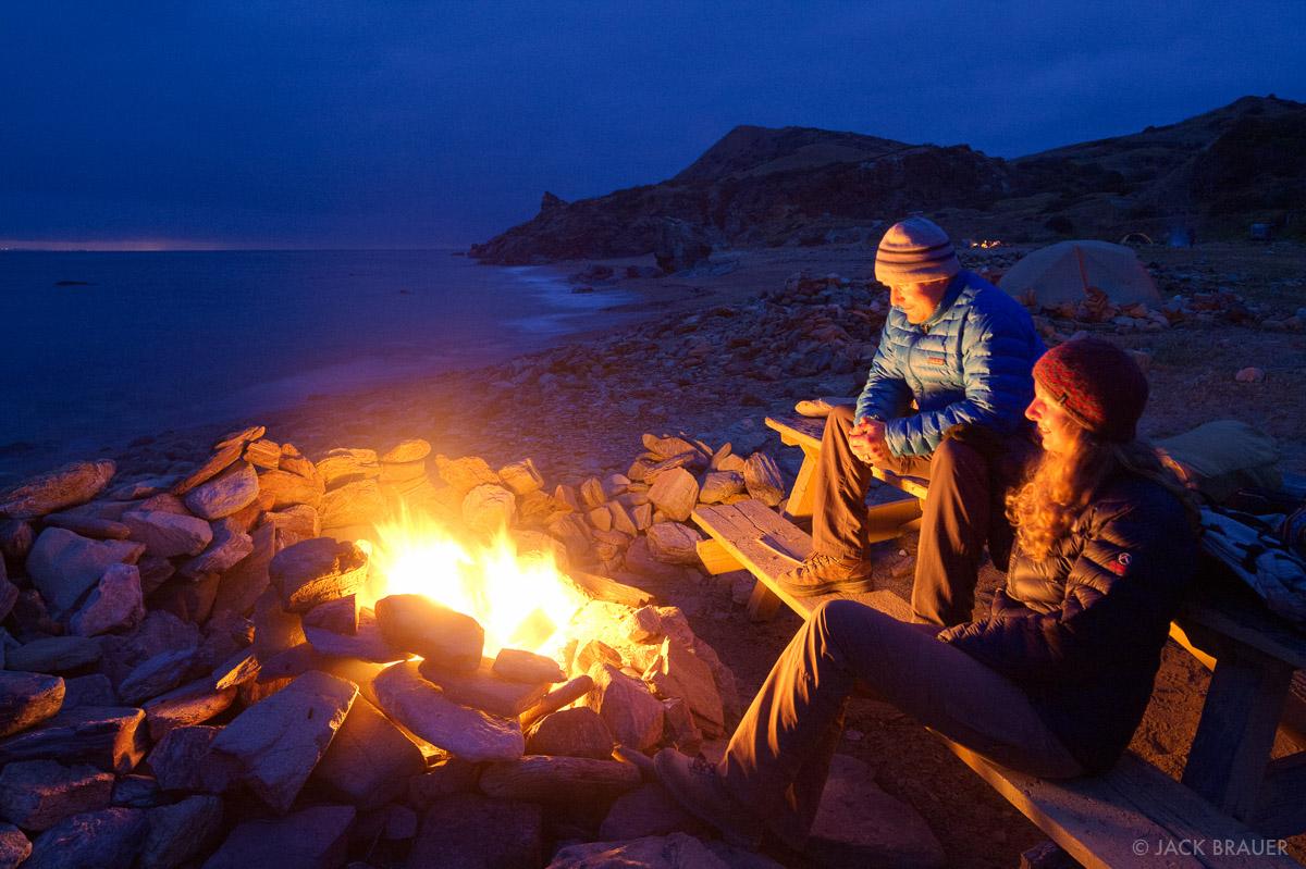 Parsons Landing, campfire, Catalina Island, California, photo