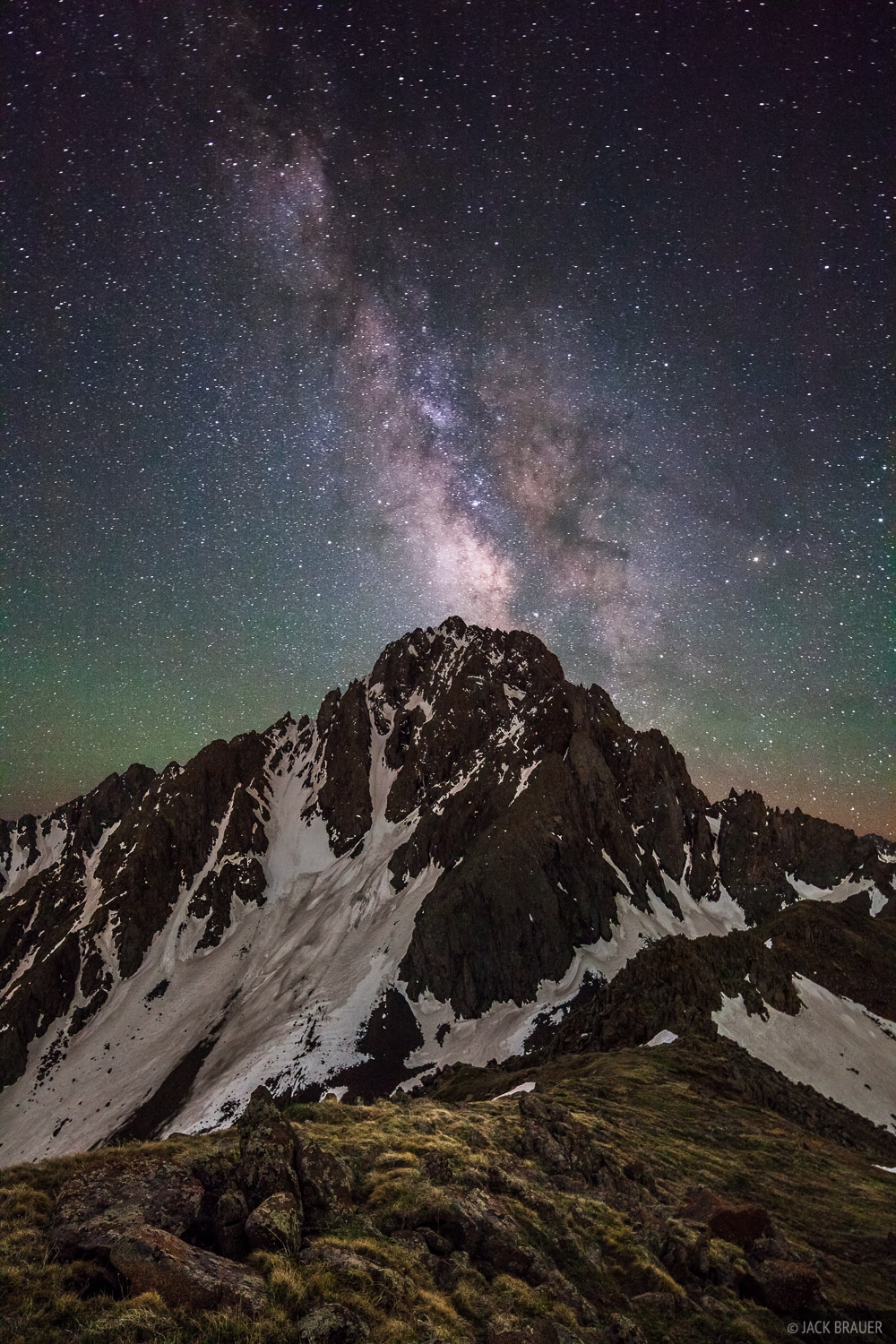 The Milky Way shines over Mt. Sneffels on a new moon night in June.