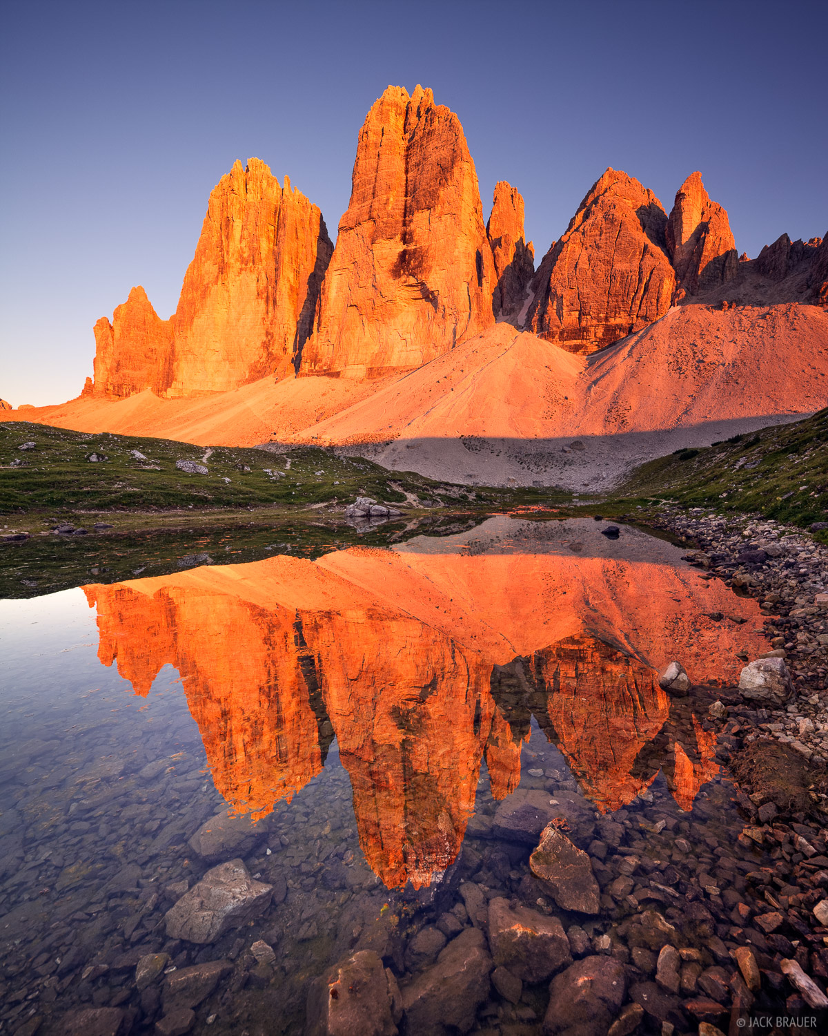 Tre Cime, Lavaredo, Drei Zinnen, enrosadira, Dolomites, Italy, reflection, photo