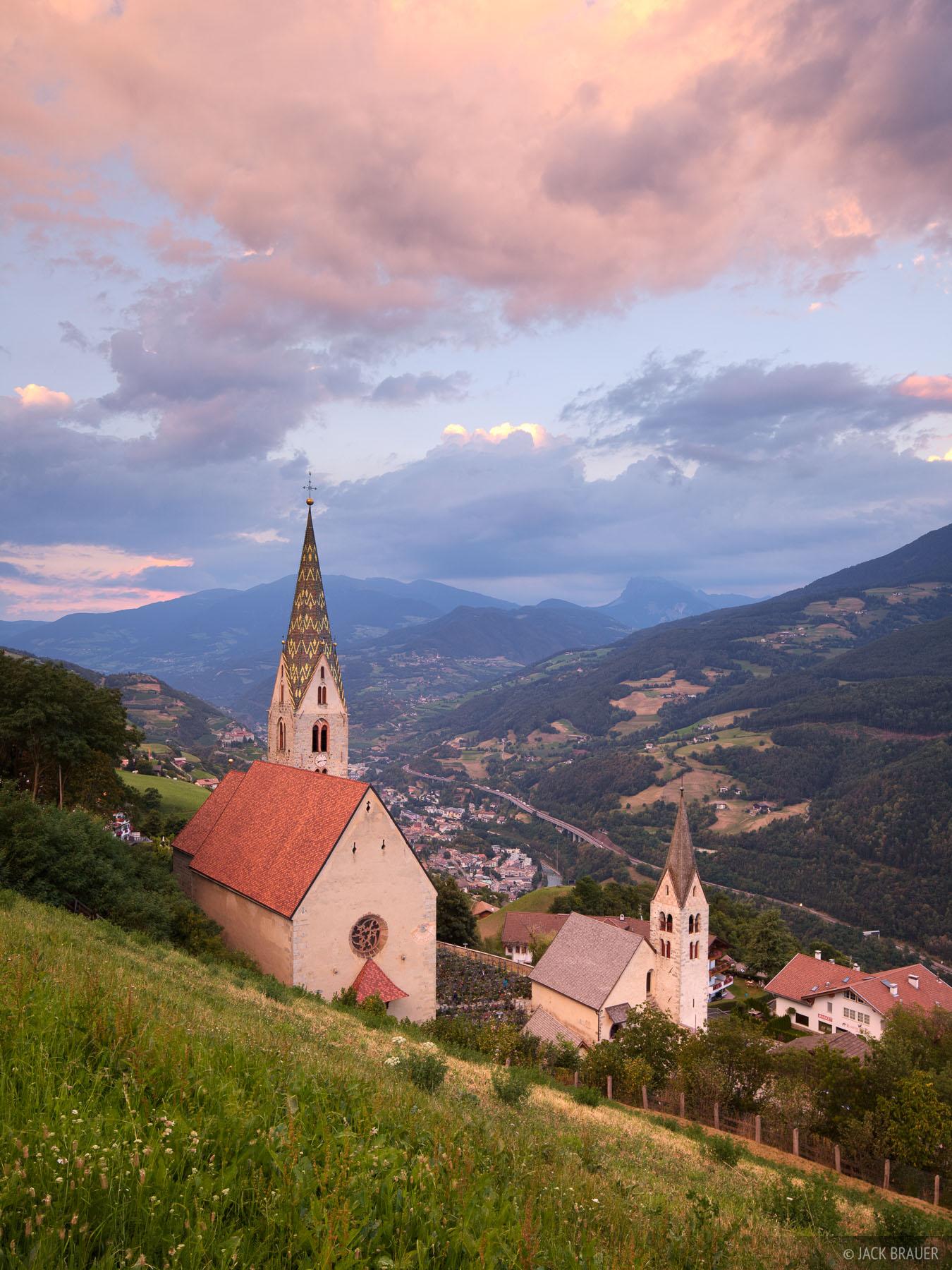 Villanders, Villandro, churches, Dolomites, Italy, photo