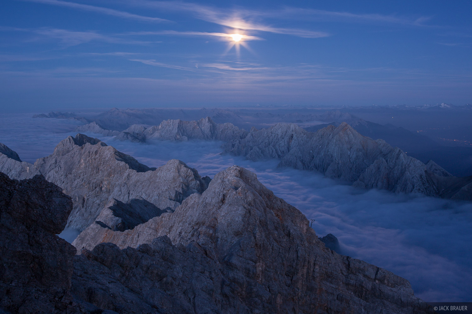 Europe,Germany,Zugspitze,moon,moonlight, photo