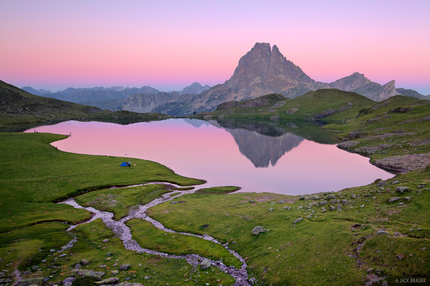 Lac Gentau Reflection Pyrenees France Mountain