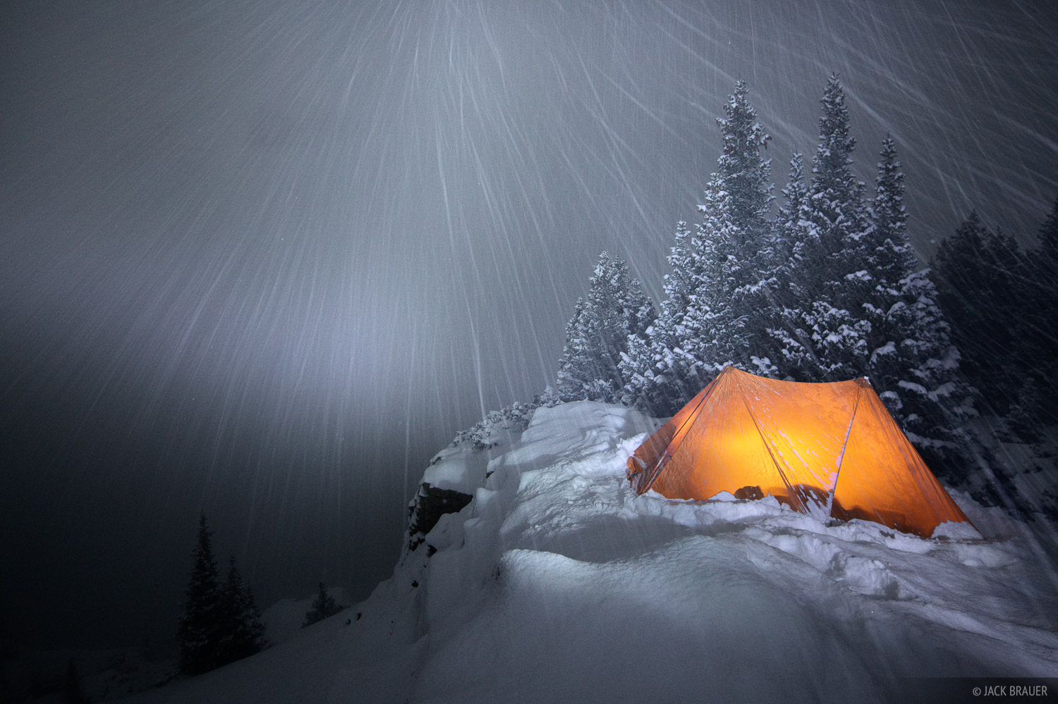 Snowy night in my winter tent.