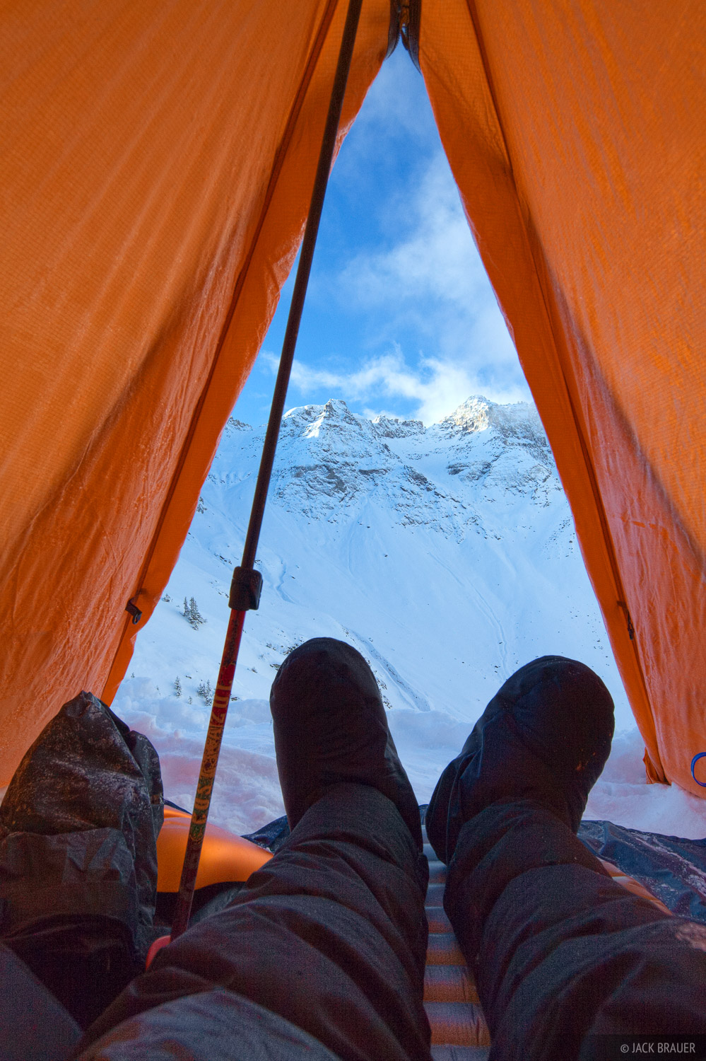 Relaxing in my winter tent high in the Sneffels Range - October.