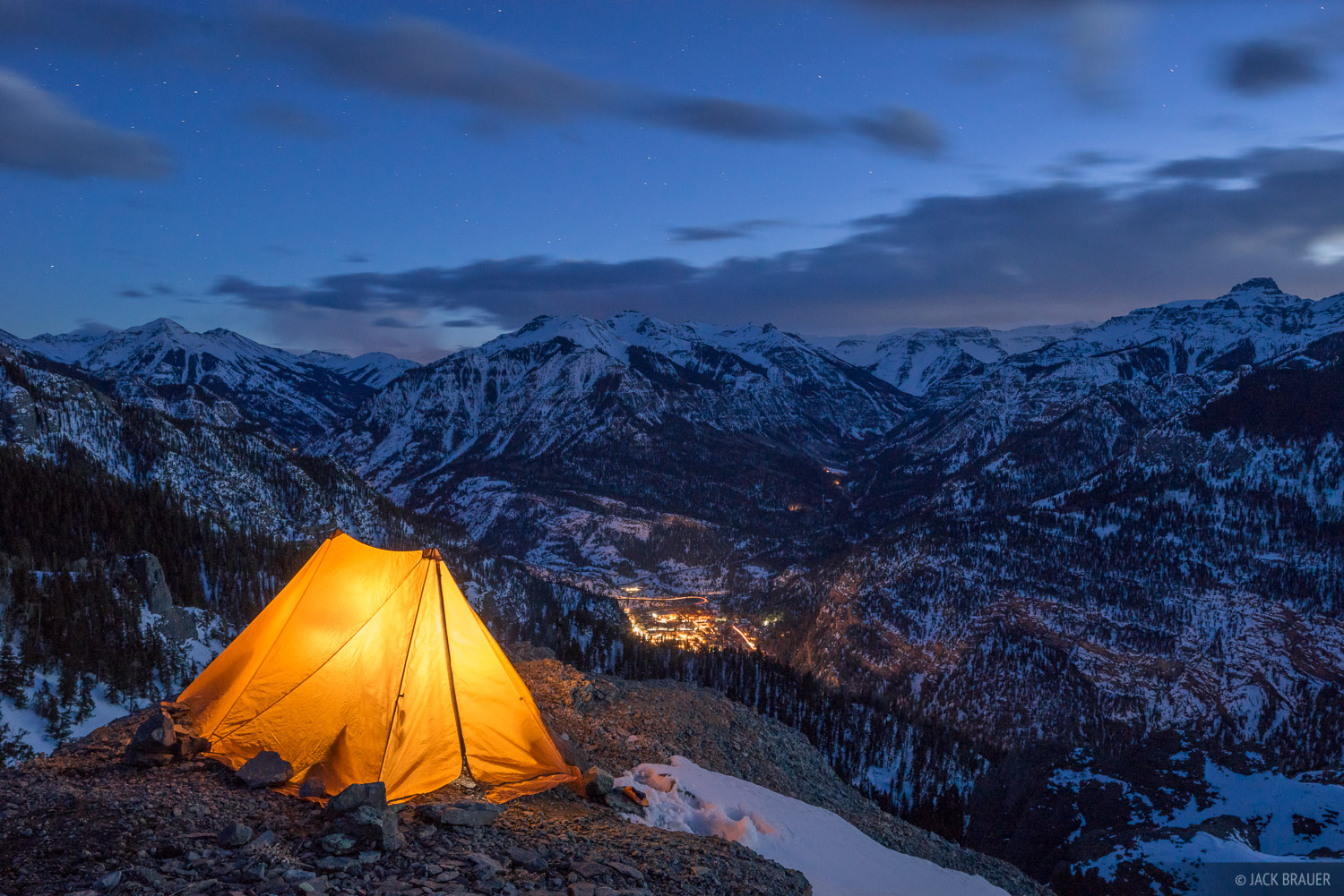 Winter camping on a high ridge over Ouray, Colorado.