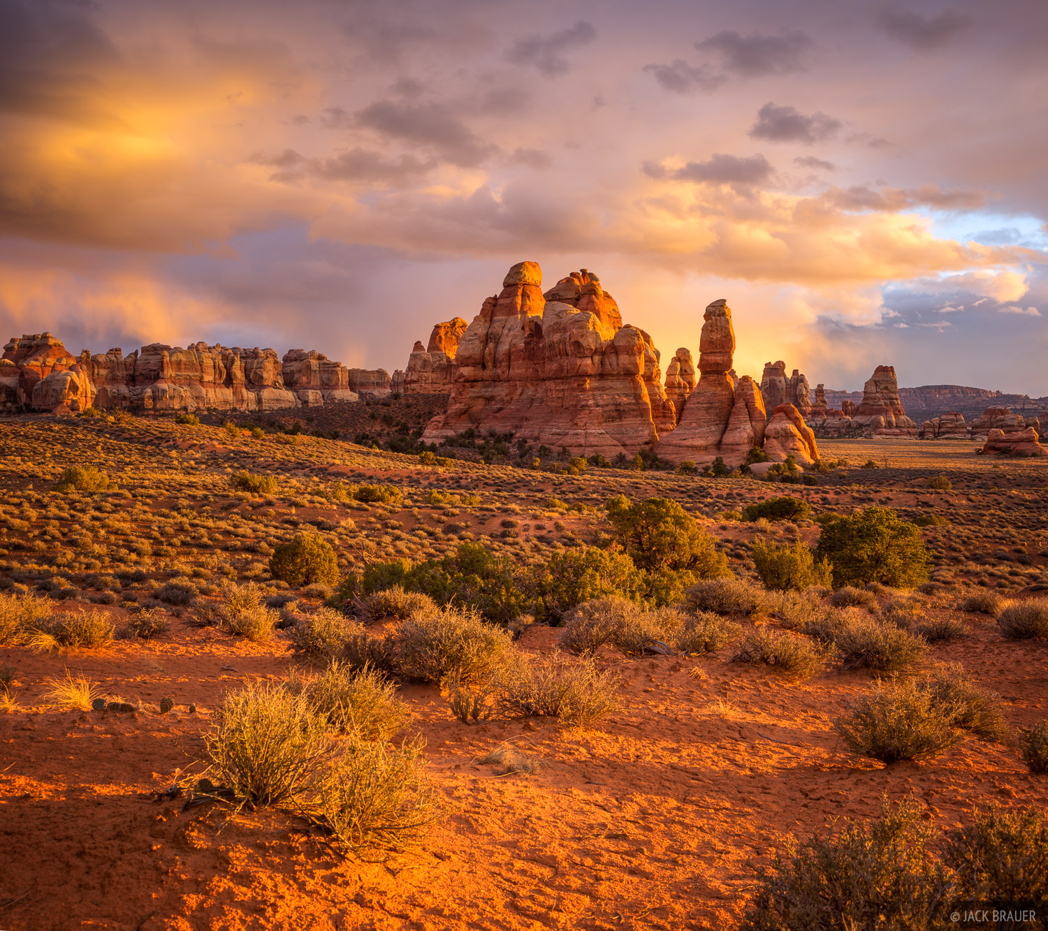 An awesome sunset over Chesler Park in the Needles District of Canyonlands National Park, Utah.