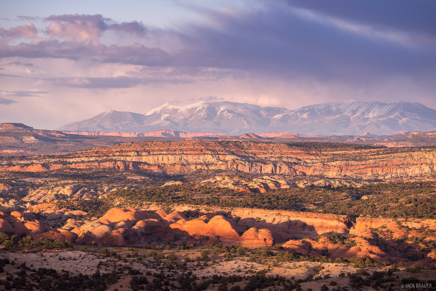 The Henry Mountains rise above the slickrock desert between Boulder and Escalante.