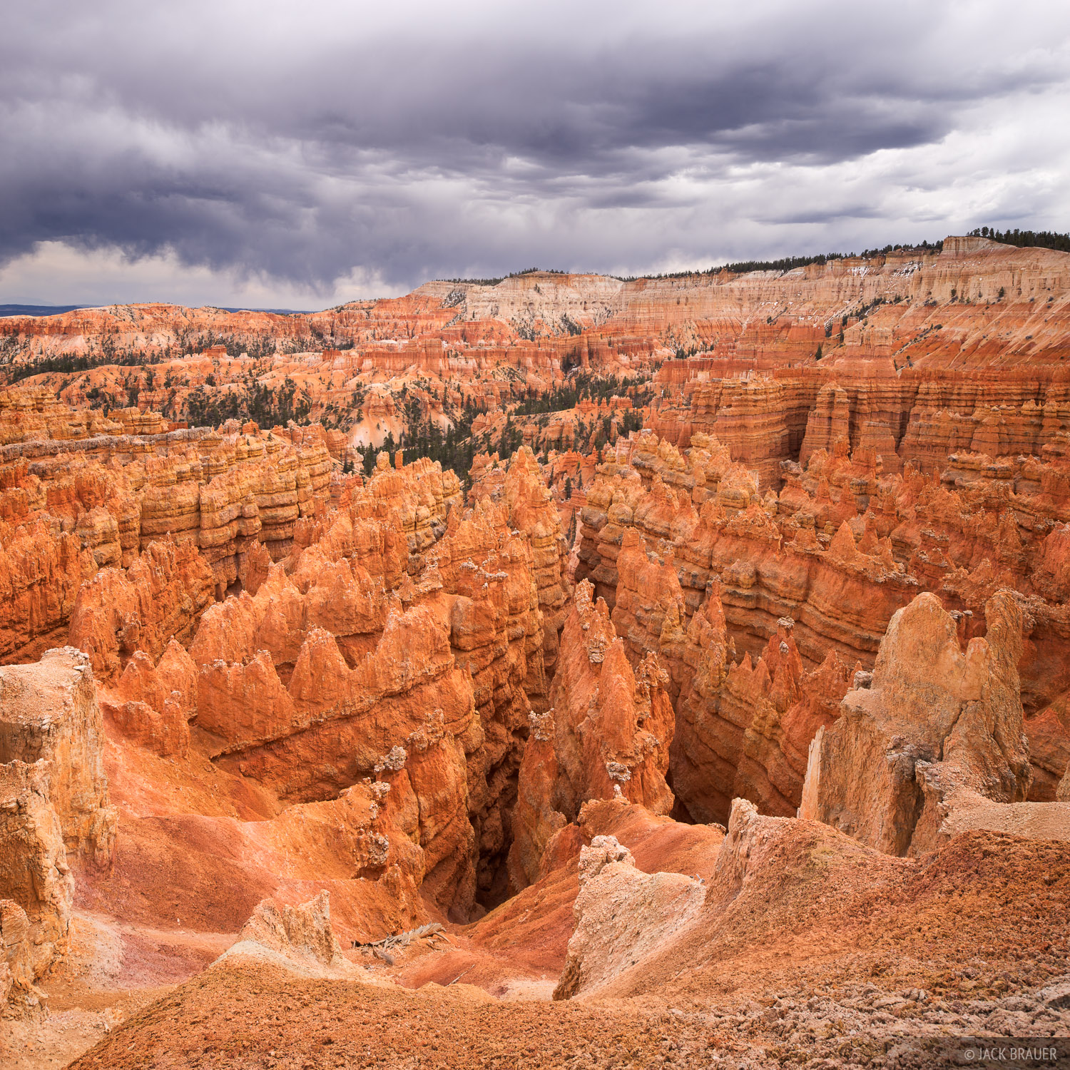 Ominous stormy clouds over Bryce Canyon National Park - April.