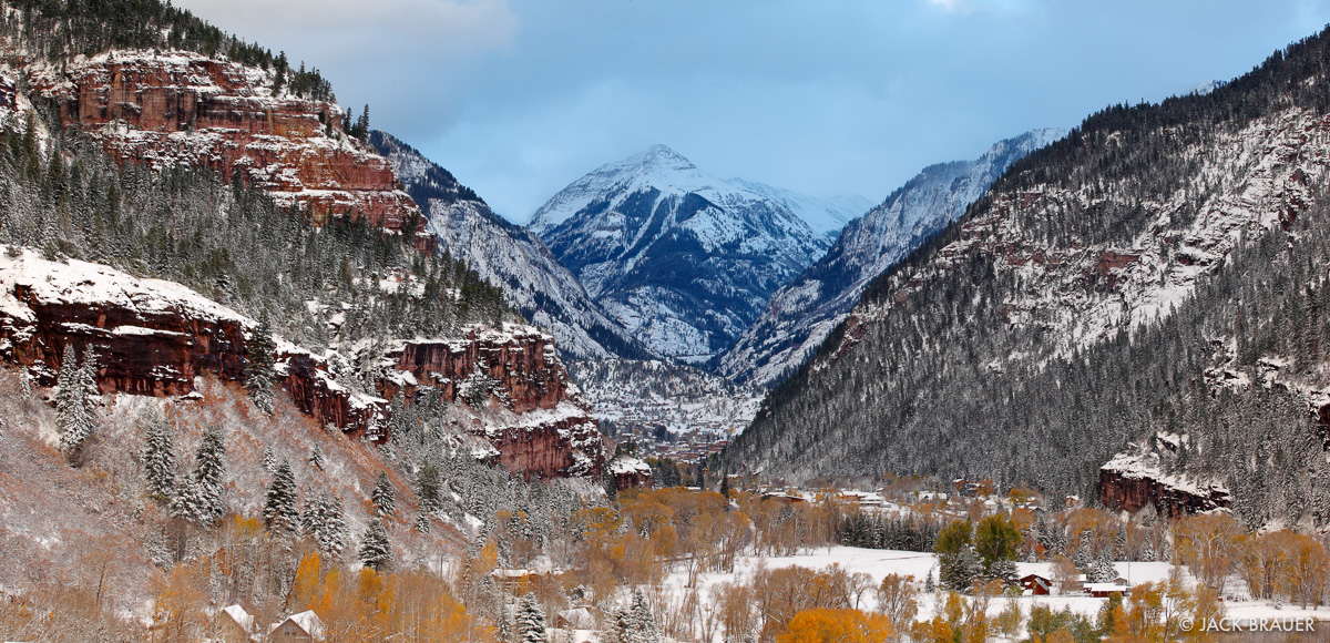 Winter takes over Autumn in the town of Ouray. October.
