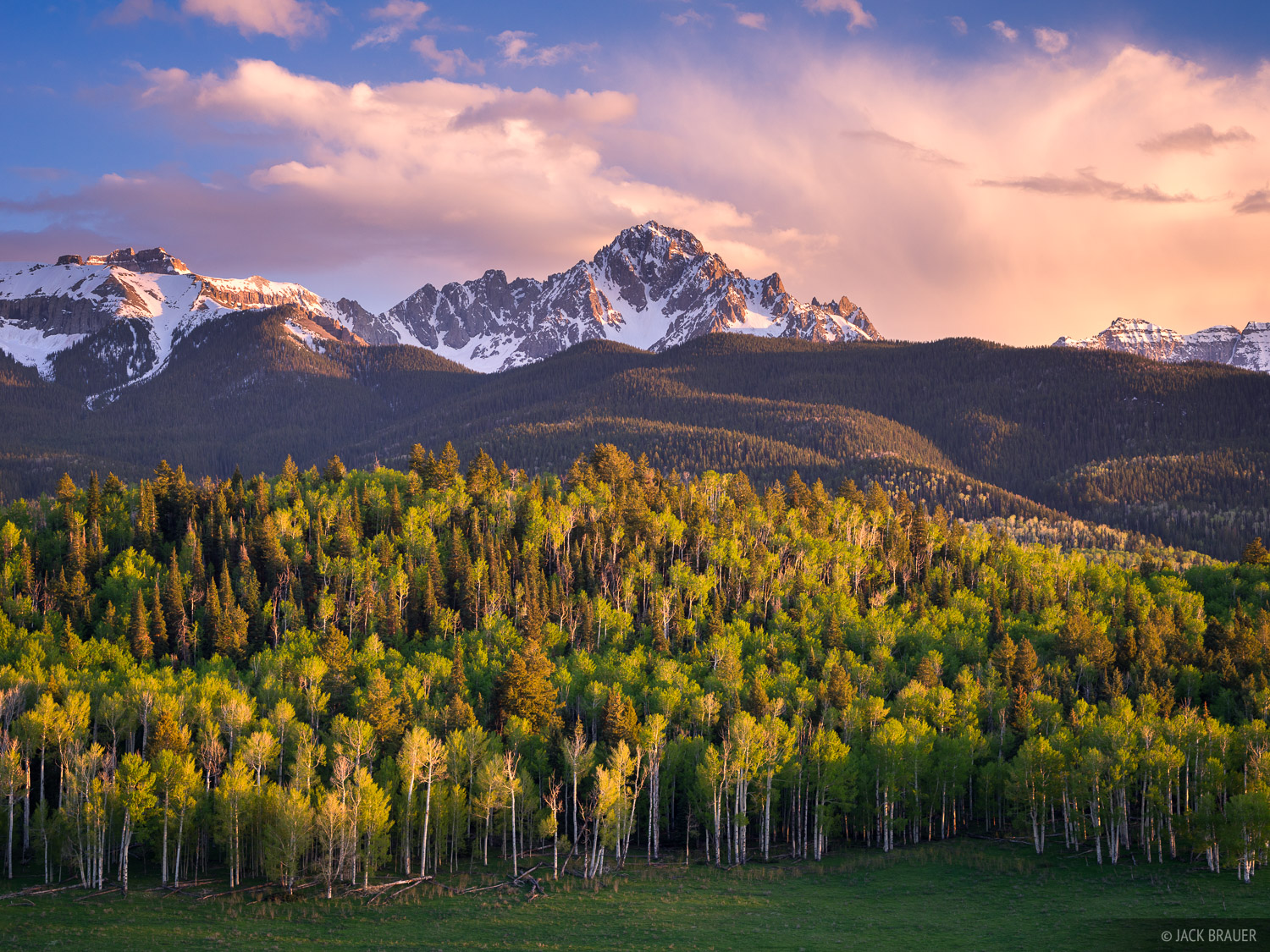 Mt. Sneffels, Colorado, San Juan Mountains, May, spring, aspens, sunset, photo