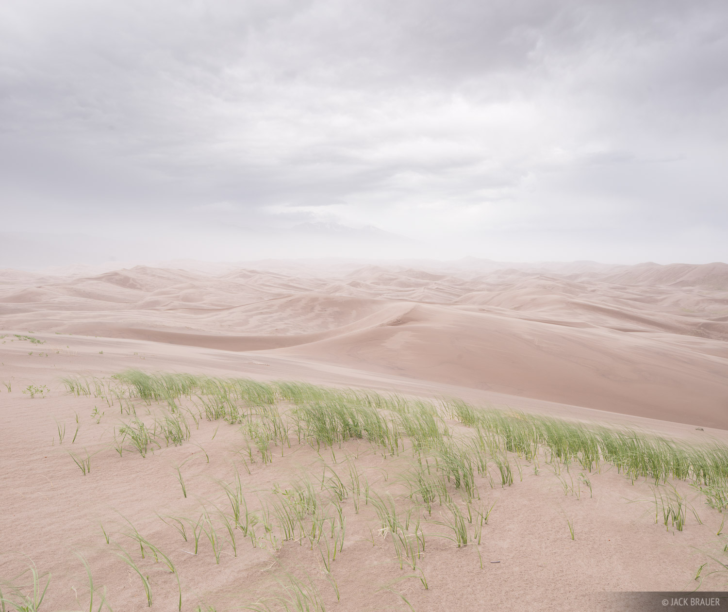 Stormy weather blows the sand around in the Great Sand Dunes.