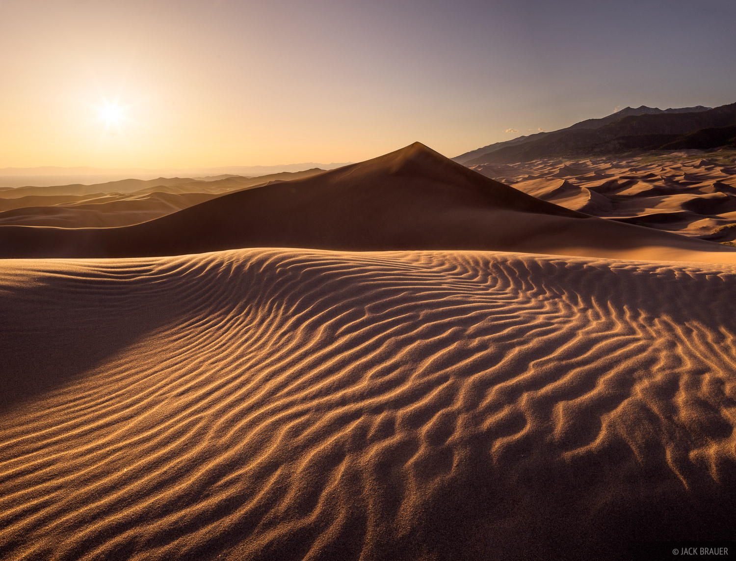 Sunset Ripples Great Sand Dunes Colorado Mountain