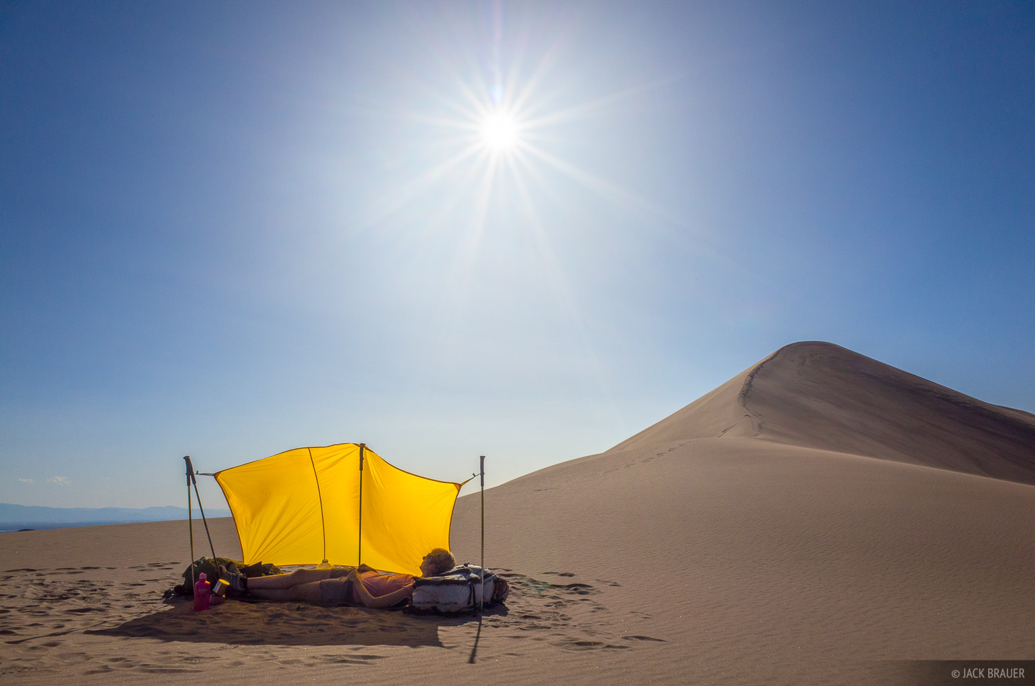 Taking shelter from the sun deep in the dunes.