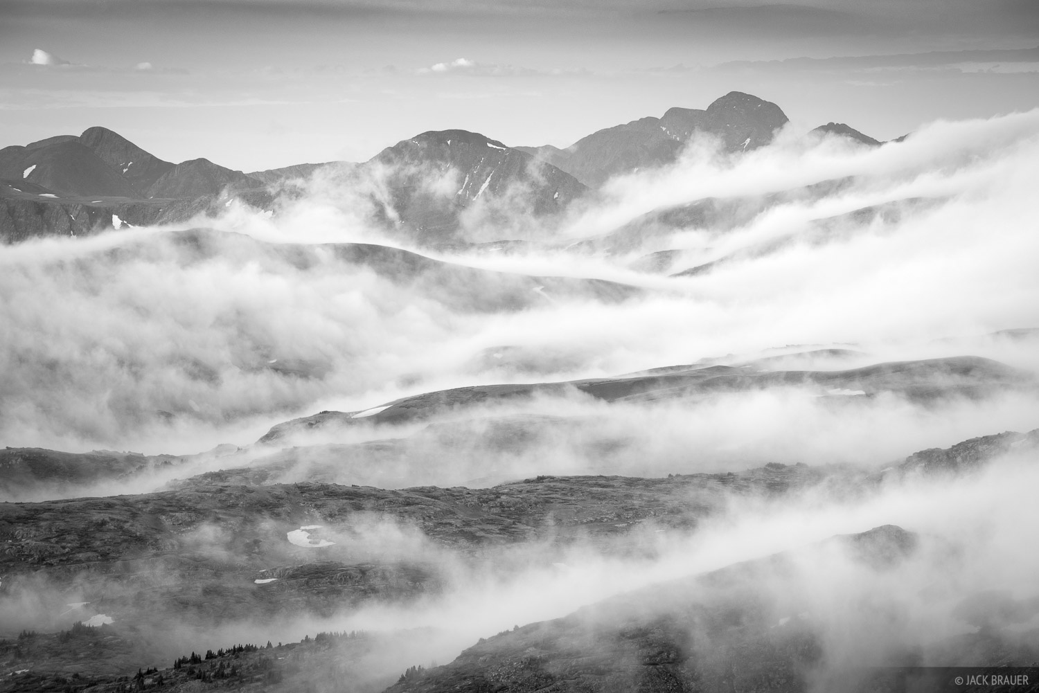 Misty clouds roll over the high tundra in the Weminuche Wilderness.