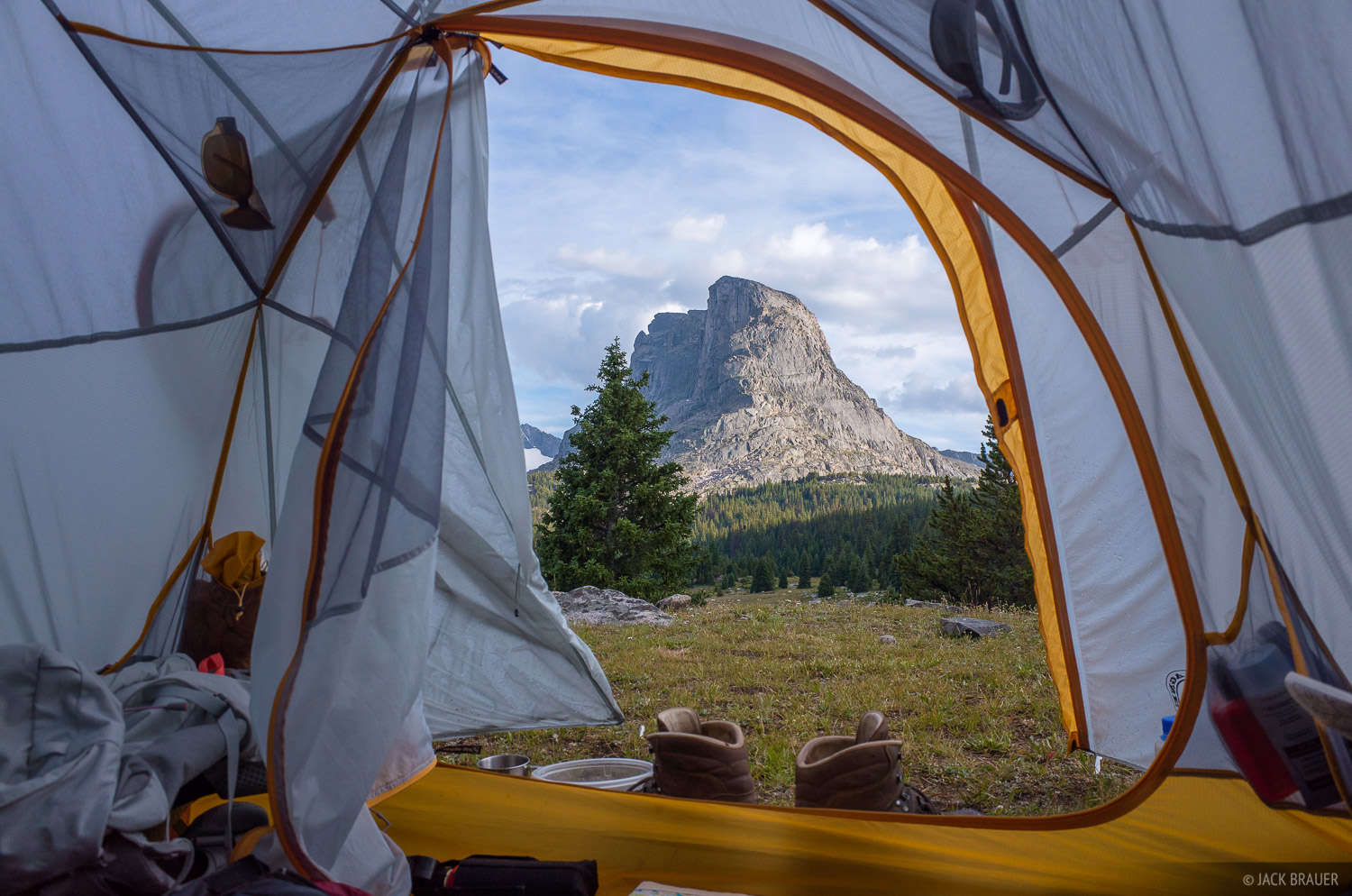 Tent View Of Buffalo Head Wind River Range Wyoming