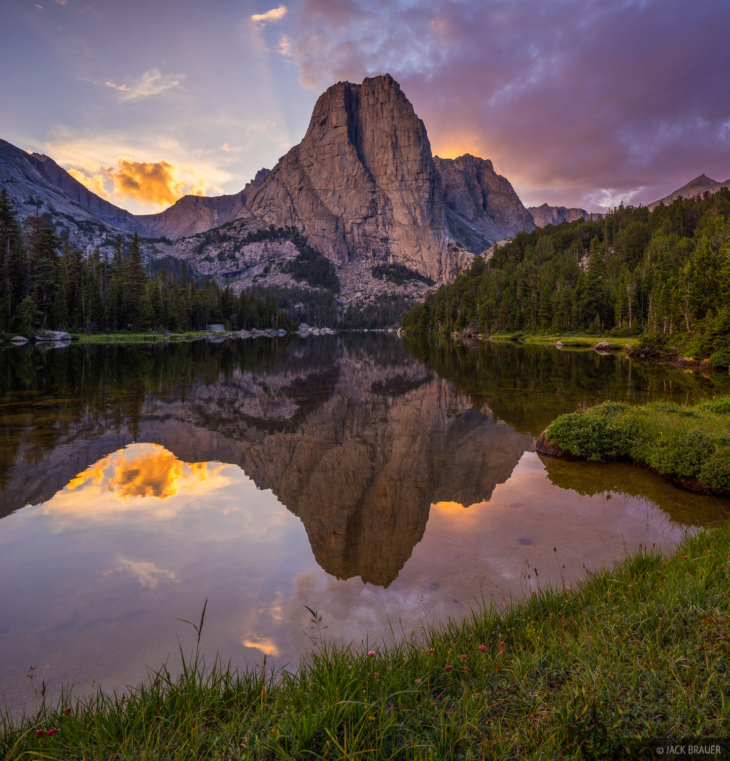 Cathedral Lake,Wind River Range,Wyoming, Cathedral Peak, photo