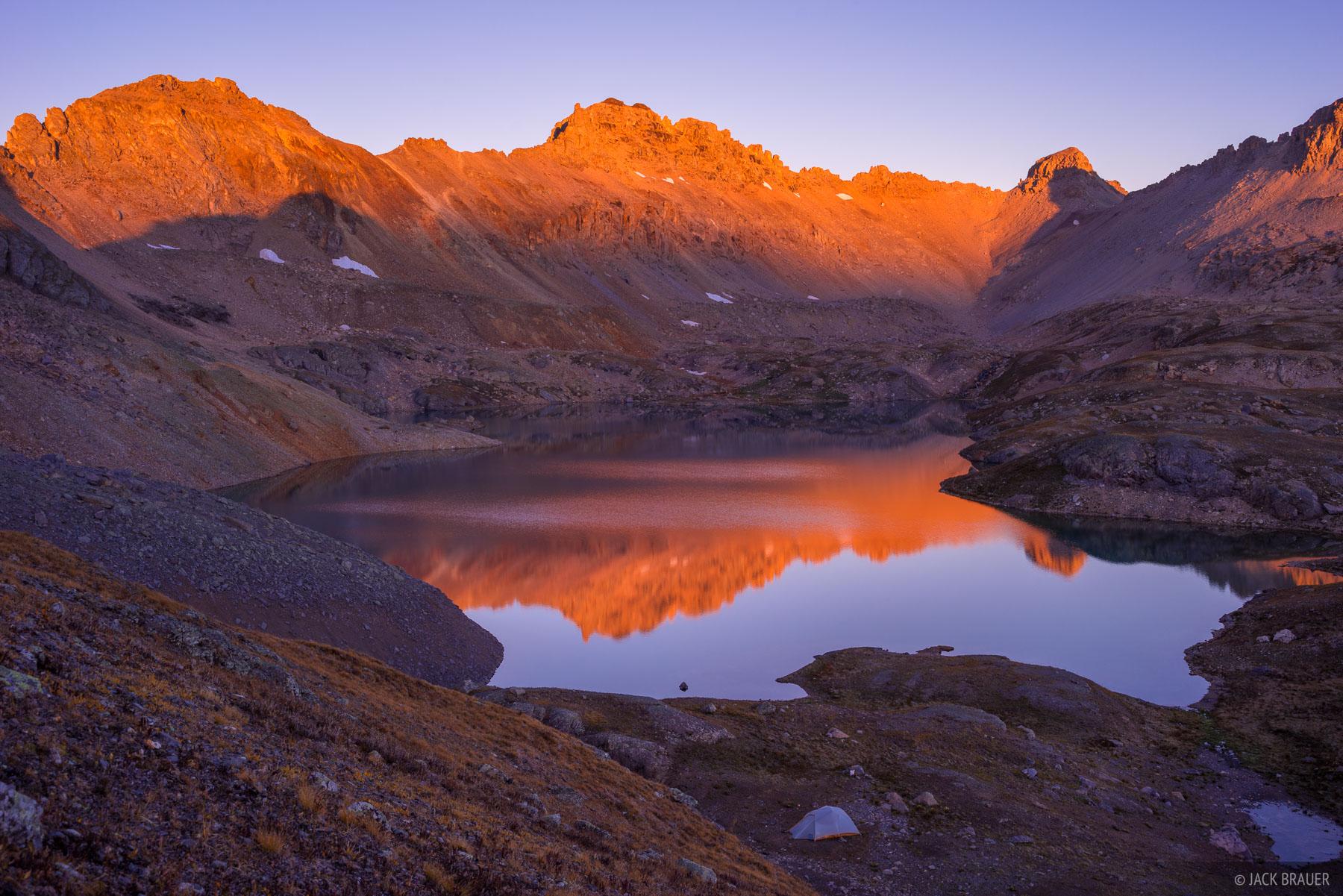 Colorado,Columbine Lake,San Juan Mountains, sunrise, September, Lookout Peak, photo