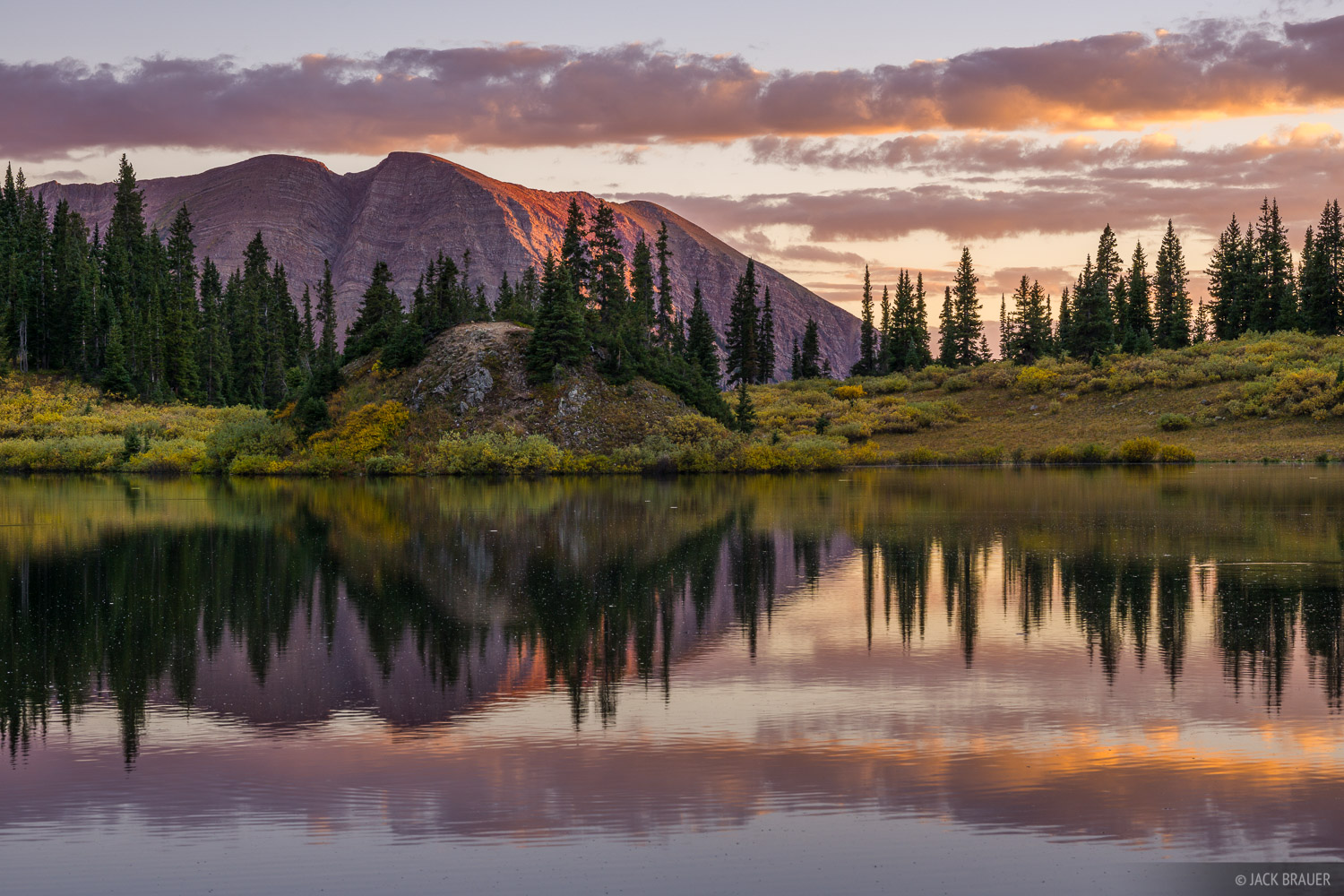 Sunset reflection in Copper Lake.