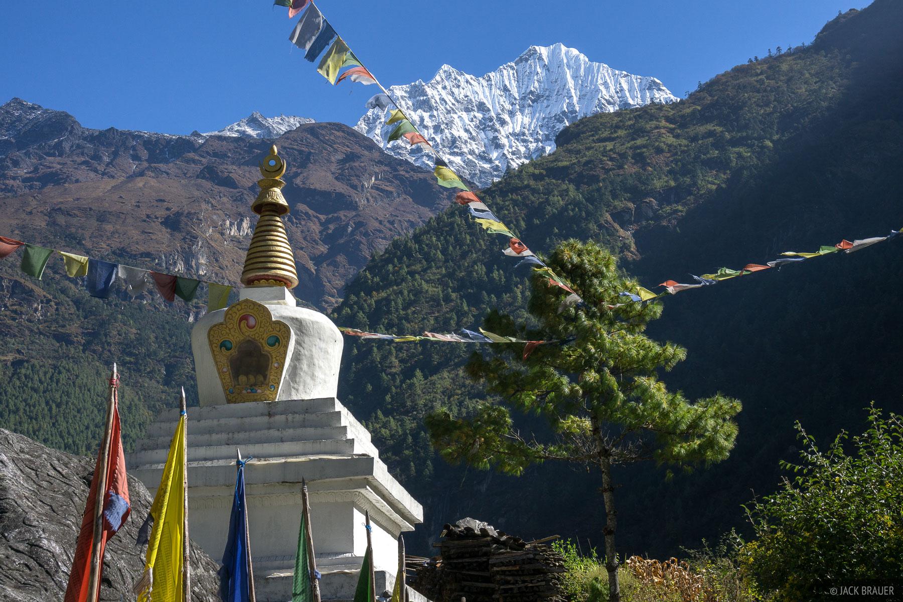 Himalaya,Khumbu,Nepal,stupa, Thamserku, photo