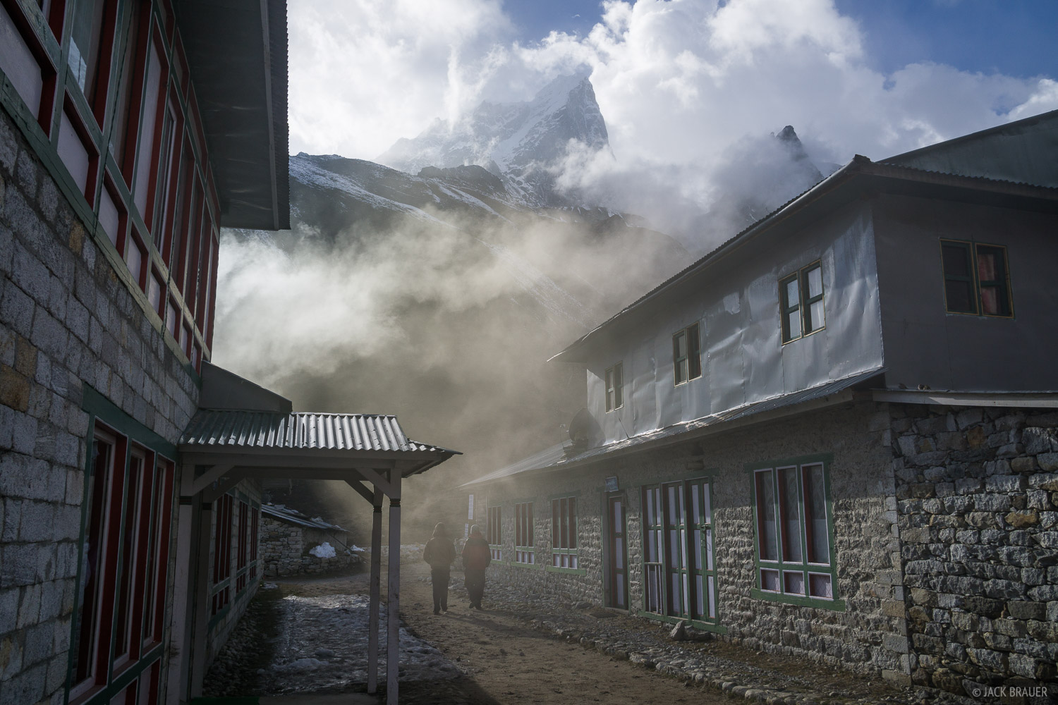 Smoke from yak dung ovens pours out of a teahouse in Pheriche.