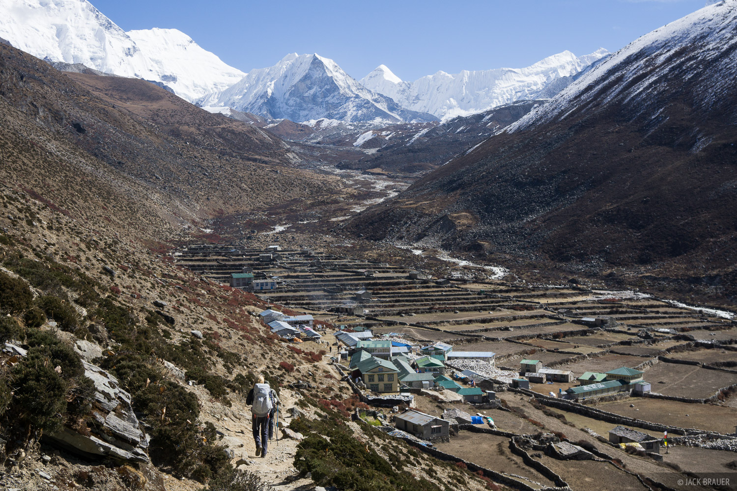 Hiking into the village of Dingboche.