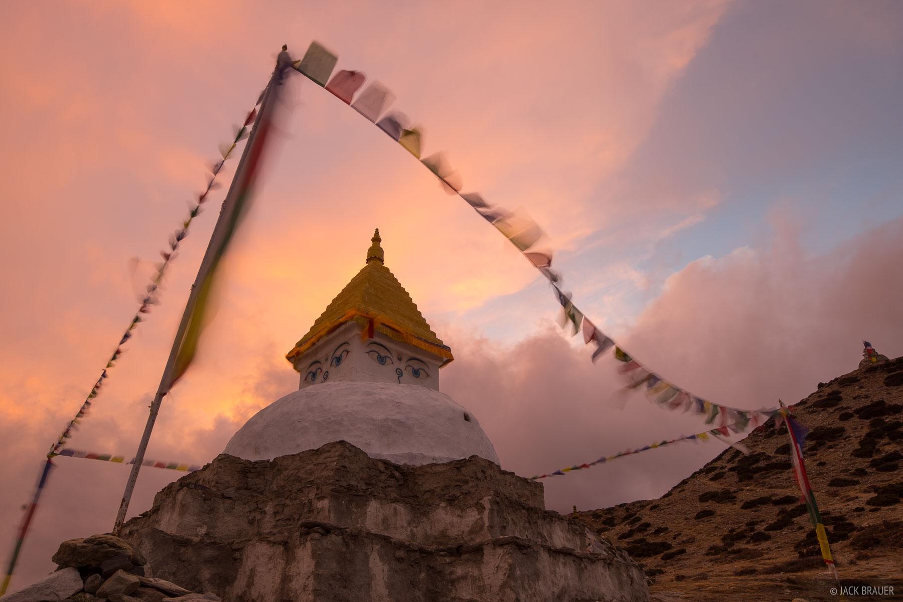 Dingboche,Himalaya,Khumbu,Nepal,prayer flags,stupa, photo