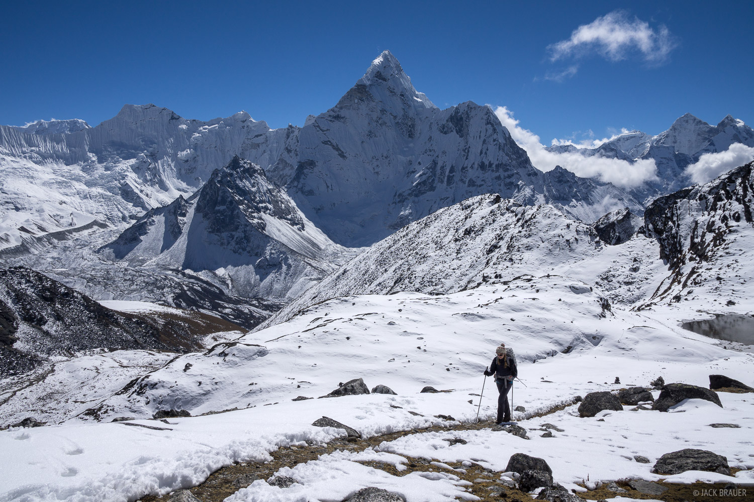 Hiking up the Kongma La, with Ama Dablam behind.
