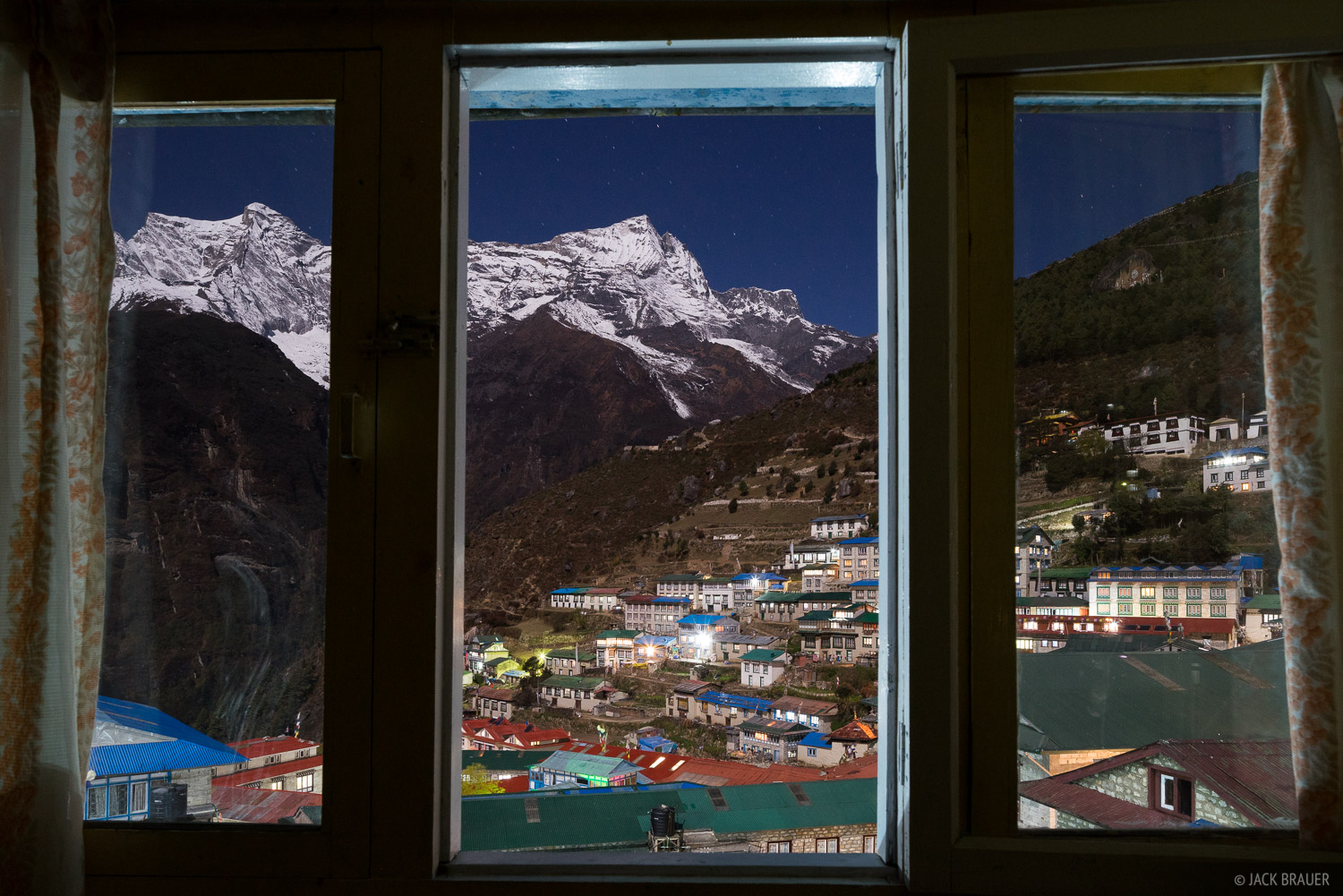 Himalaya,Khumbu,Namche Bazaar,Nepal,moonlight, window, photo