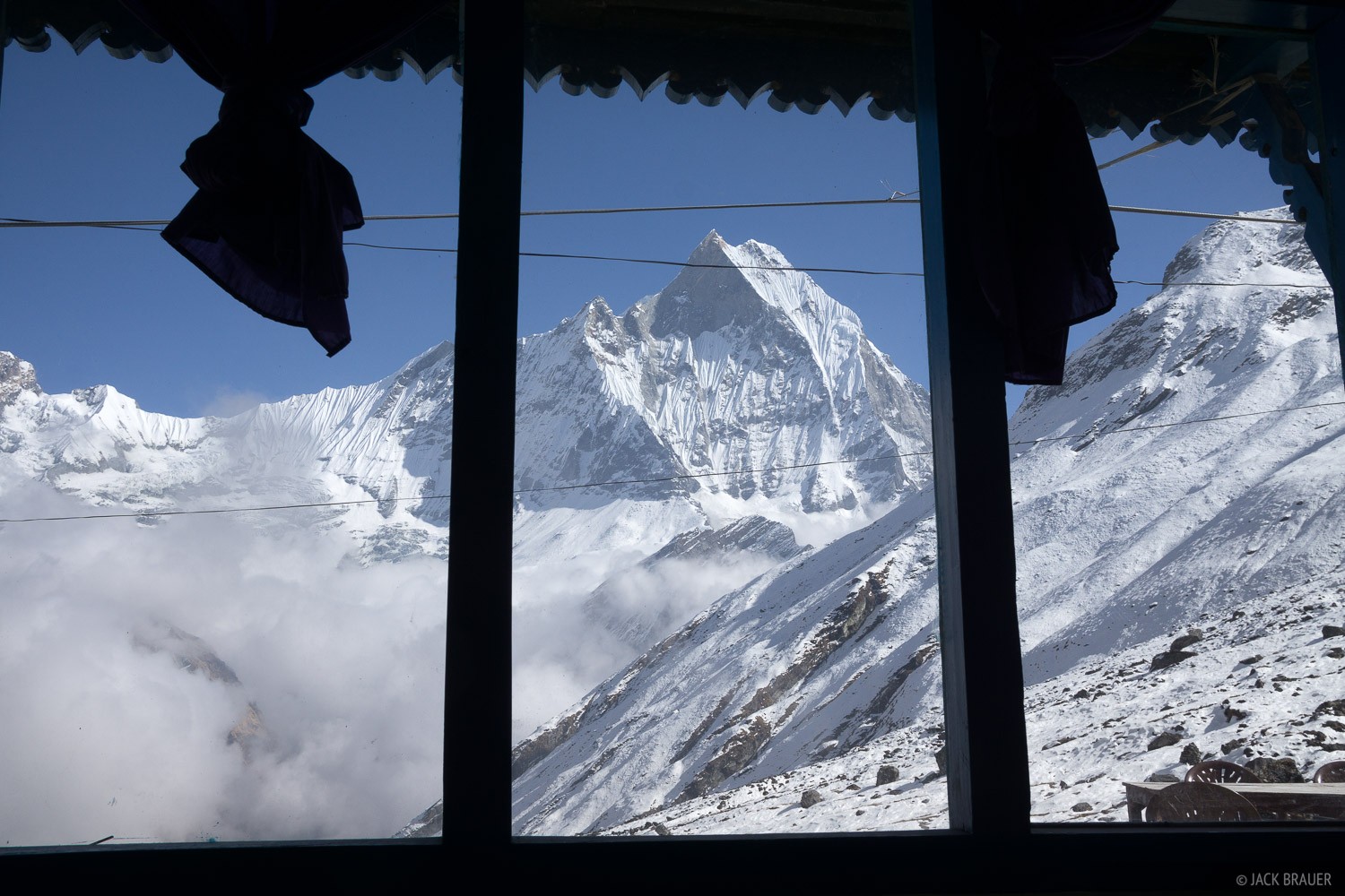 Nice view of Machhapuchhre out the teahouse window at Annapurna Base Camp.