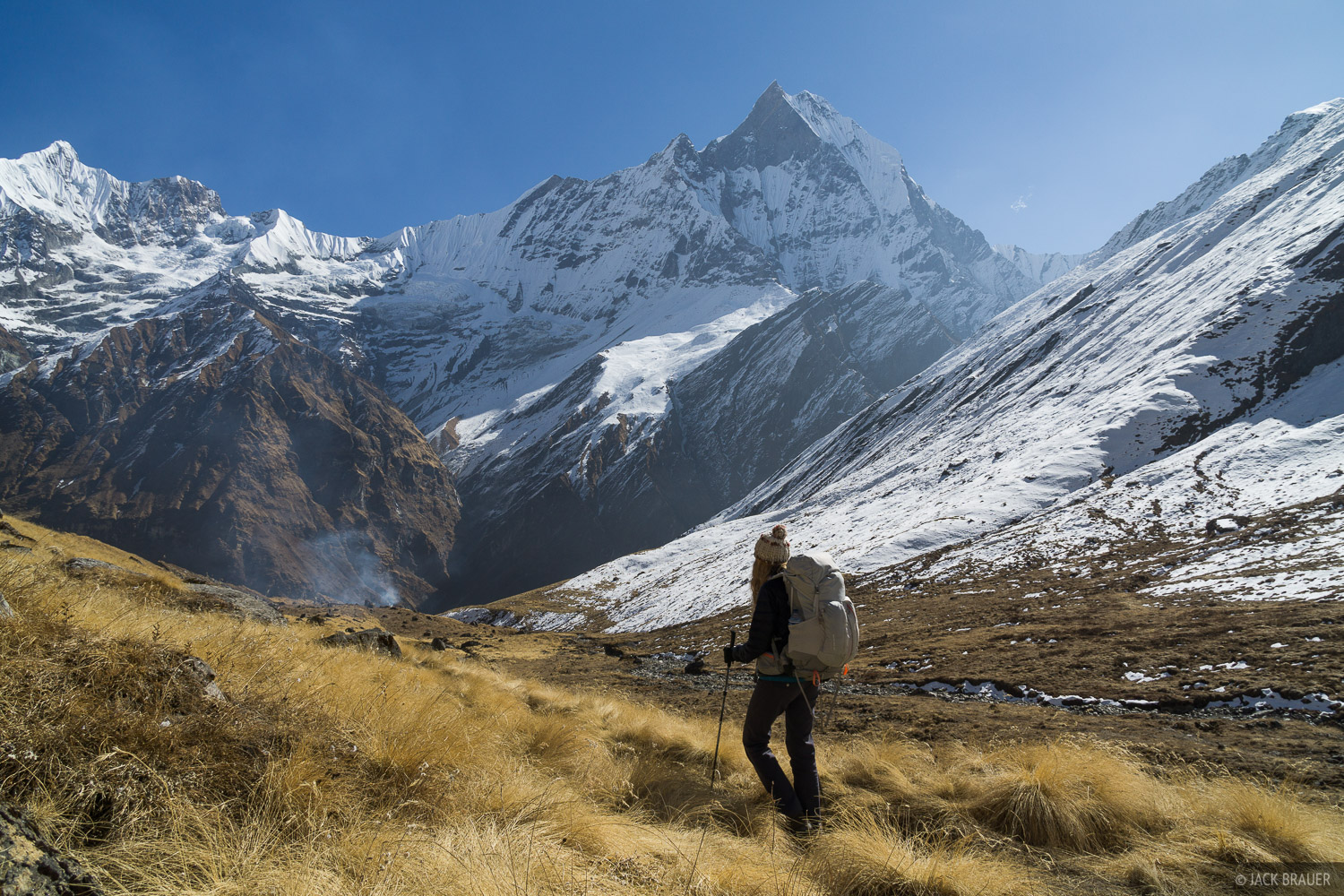 Hiking away from Annapurna Base Camp, with Machhapuchhre towering above.