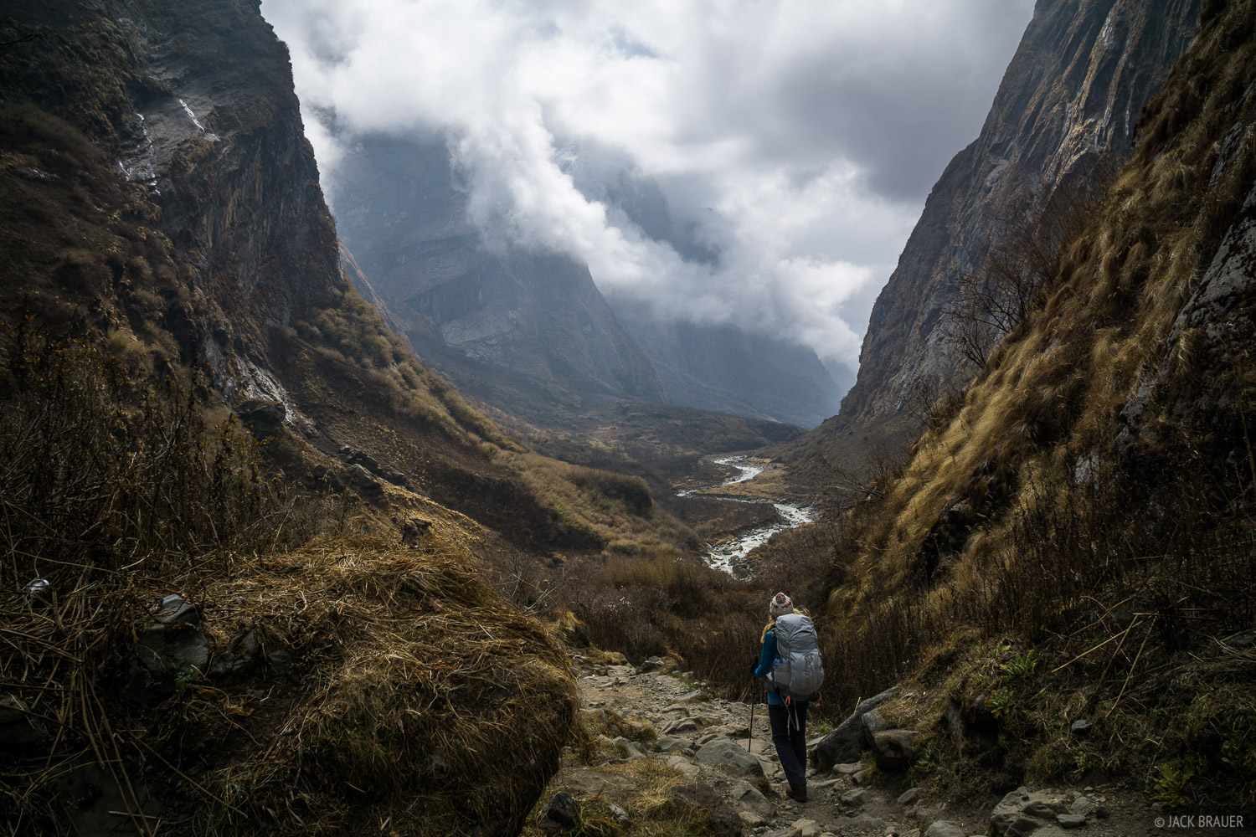Hiking down the vertical gorge of the Modi Khola.