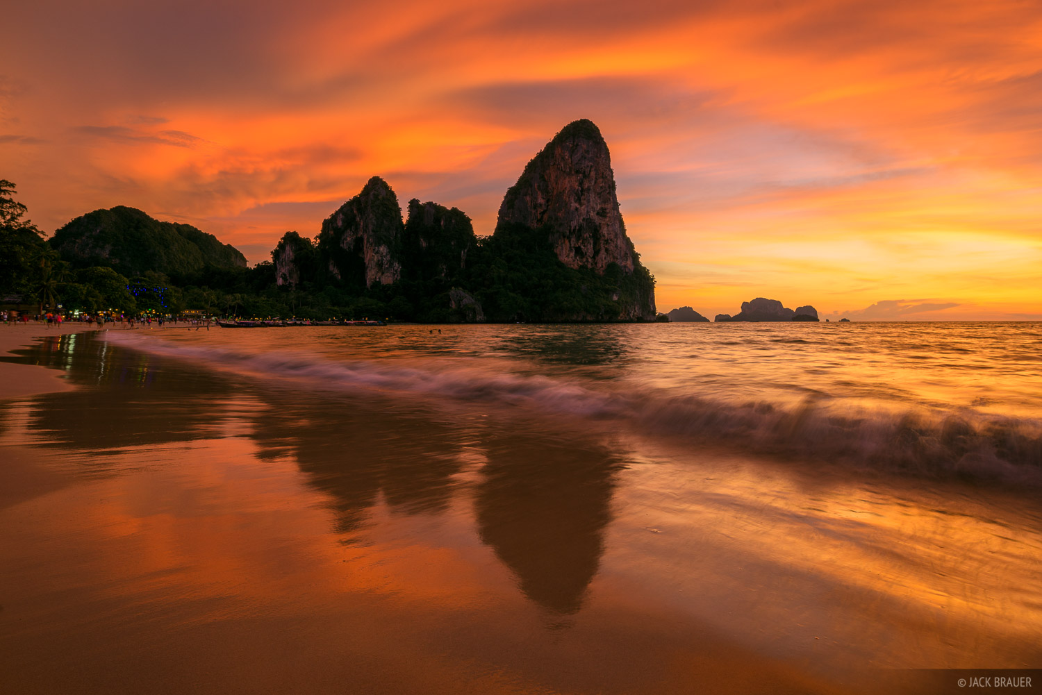 An amazing sunset over the limestone karsts of Railay beach.