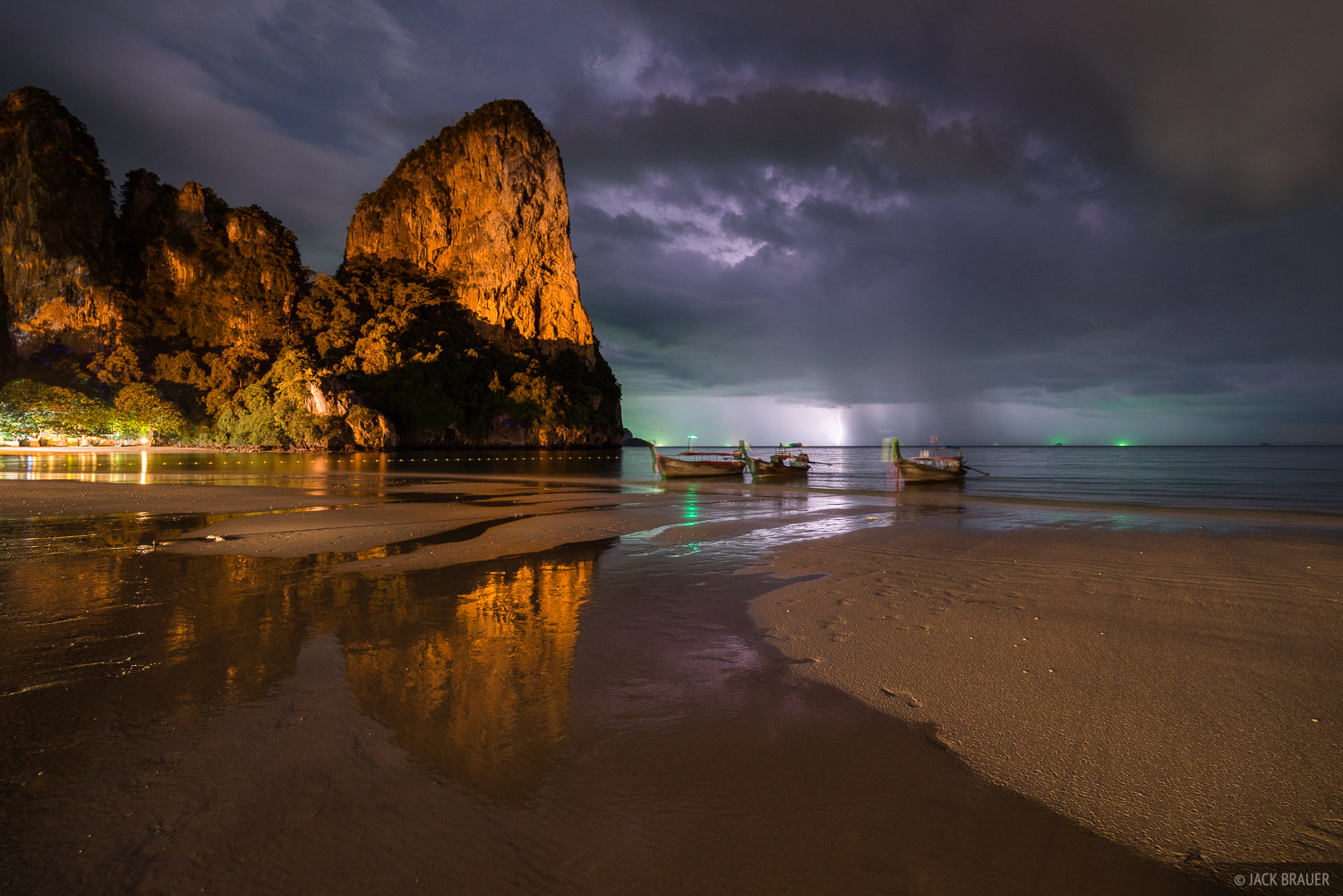 Lightning over the Andaman Sea as a tropical thunderstorm passes over Railay Beach.