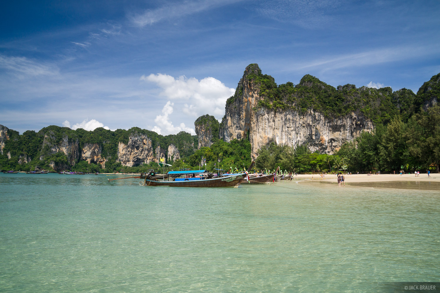 Long-tail boats at west Railay beach.