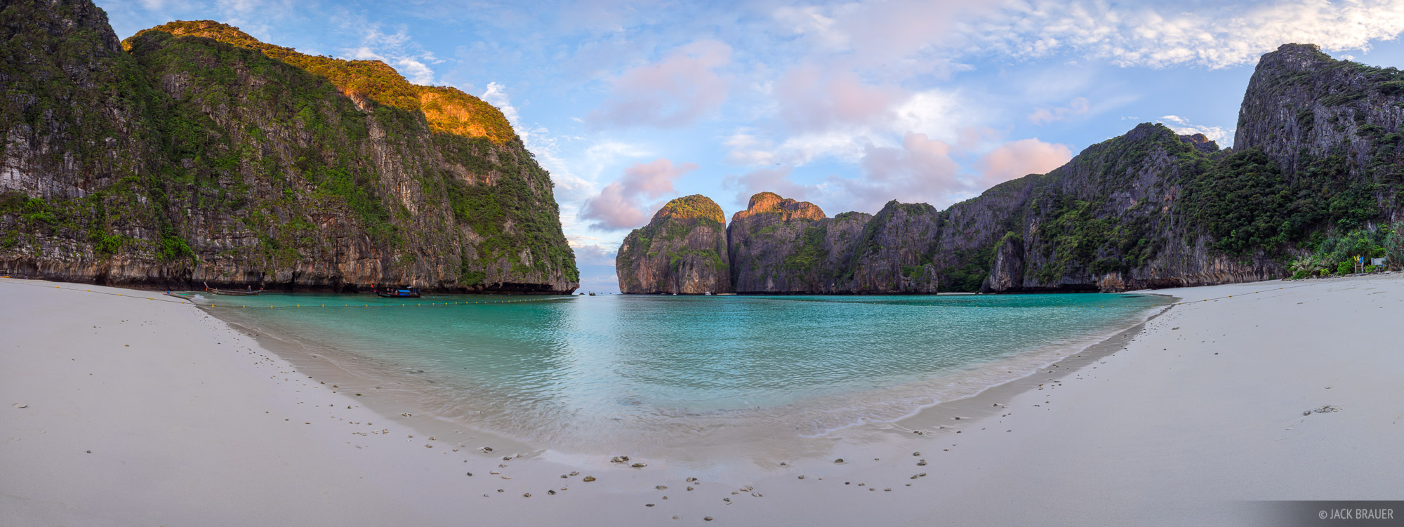 A panorama of the incredible cove of Maya Bay, where, incidentally, The Beach movie starring Leonardo DiCaprio was filmed.