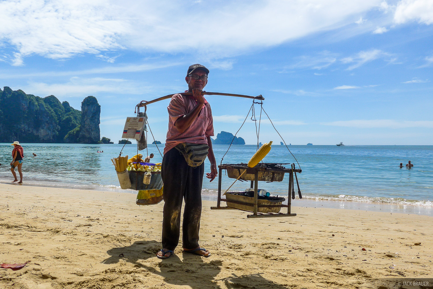 This guy walks up and down the beach at Ao Nang serving fresh corn cobs roasted over his portable coconut-charcoal grill. &nbsp...