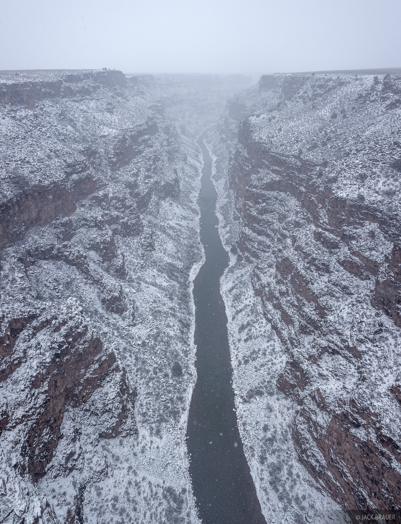 Fresh snow smothers the Rio Grande Gorge near Taos, New Mexico - February.