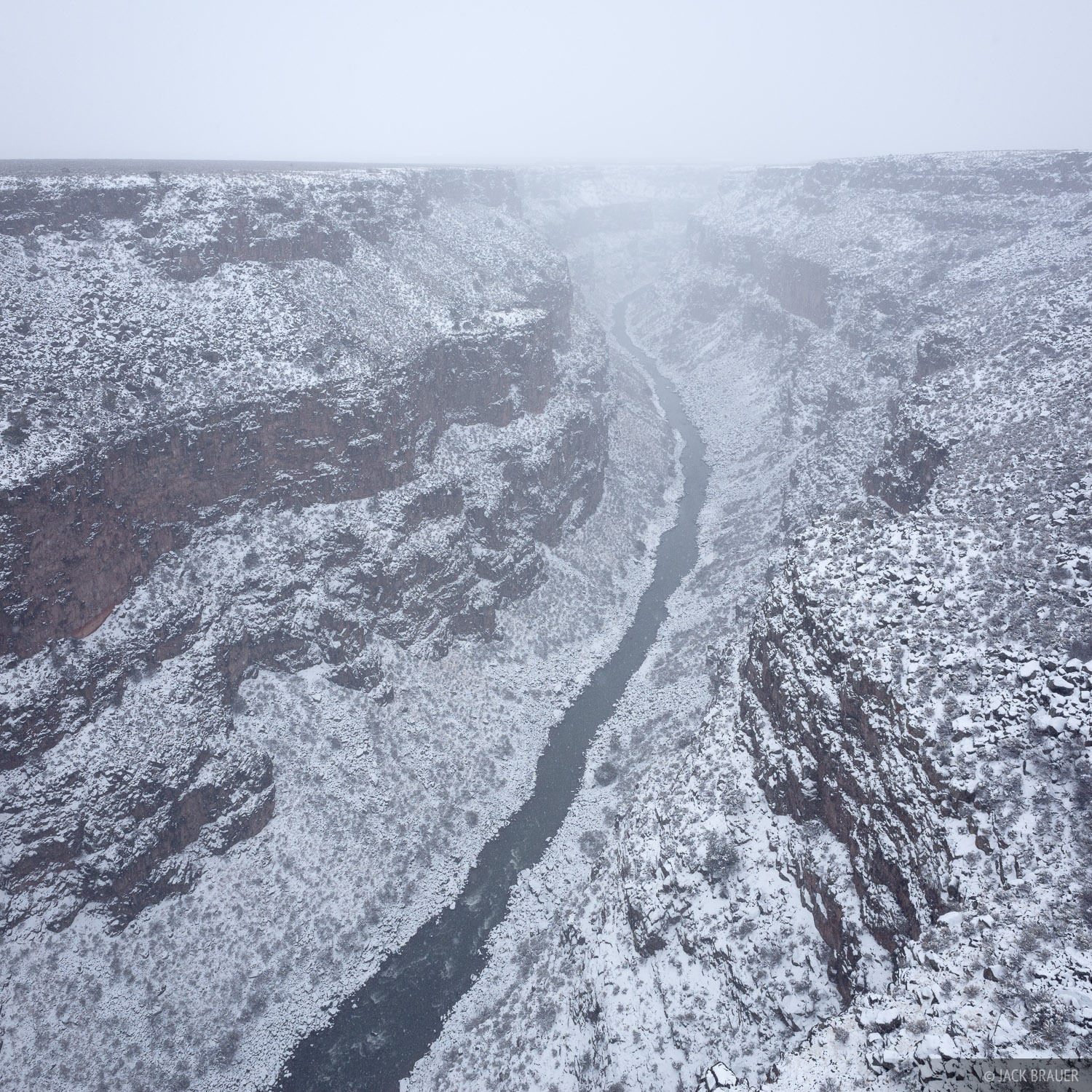 Fresh snow smothers the Rio Grande Gorge near Taos, New Mexico - February.