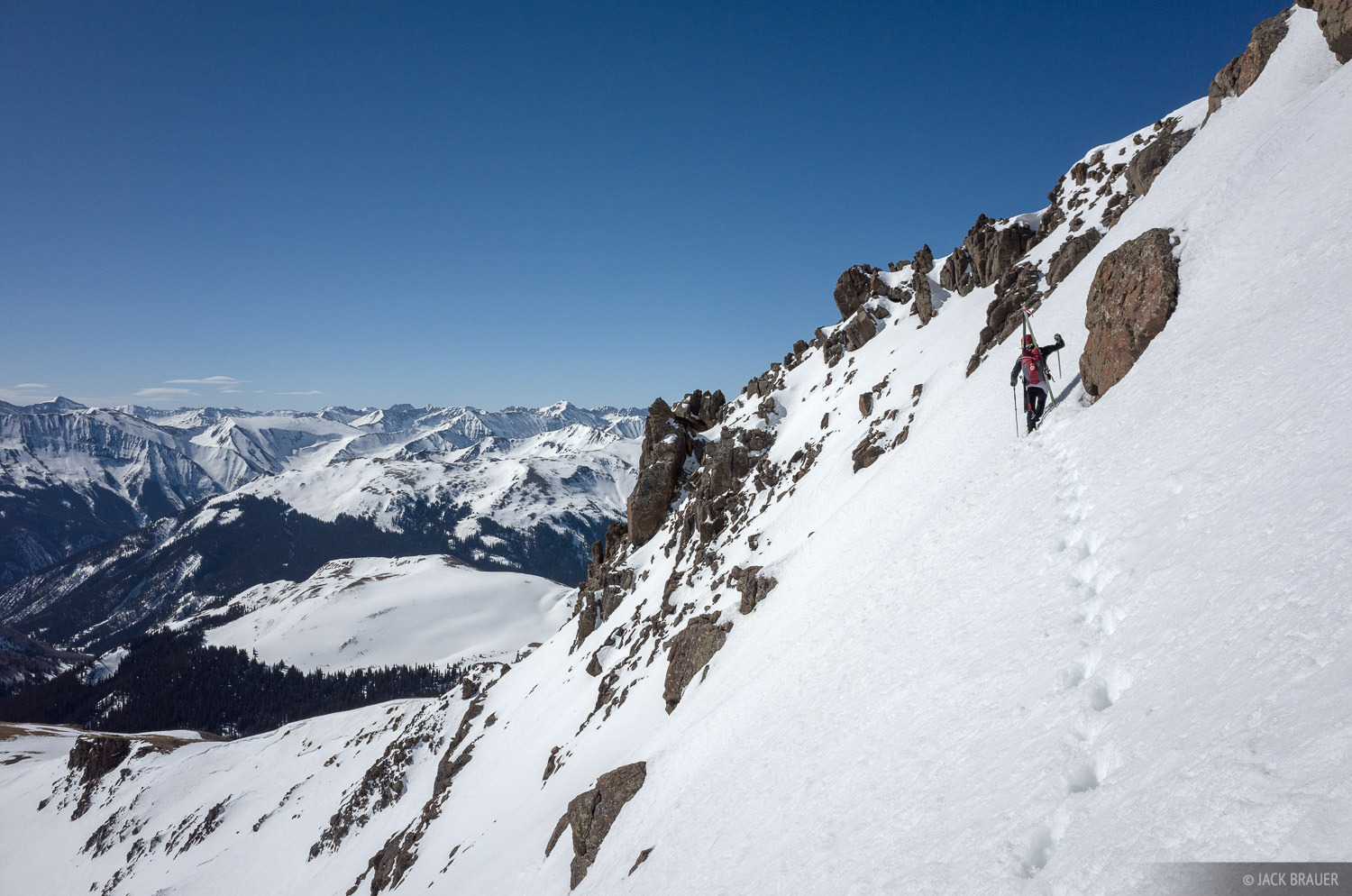 Some spicy hiking up the 50º steep east face of Wetterhorn Peak.
