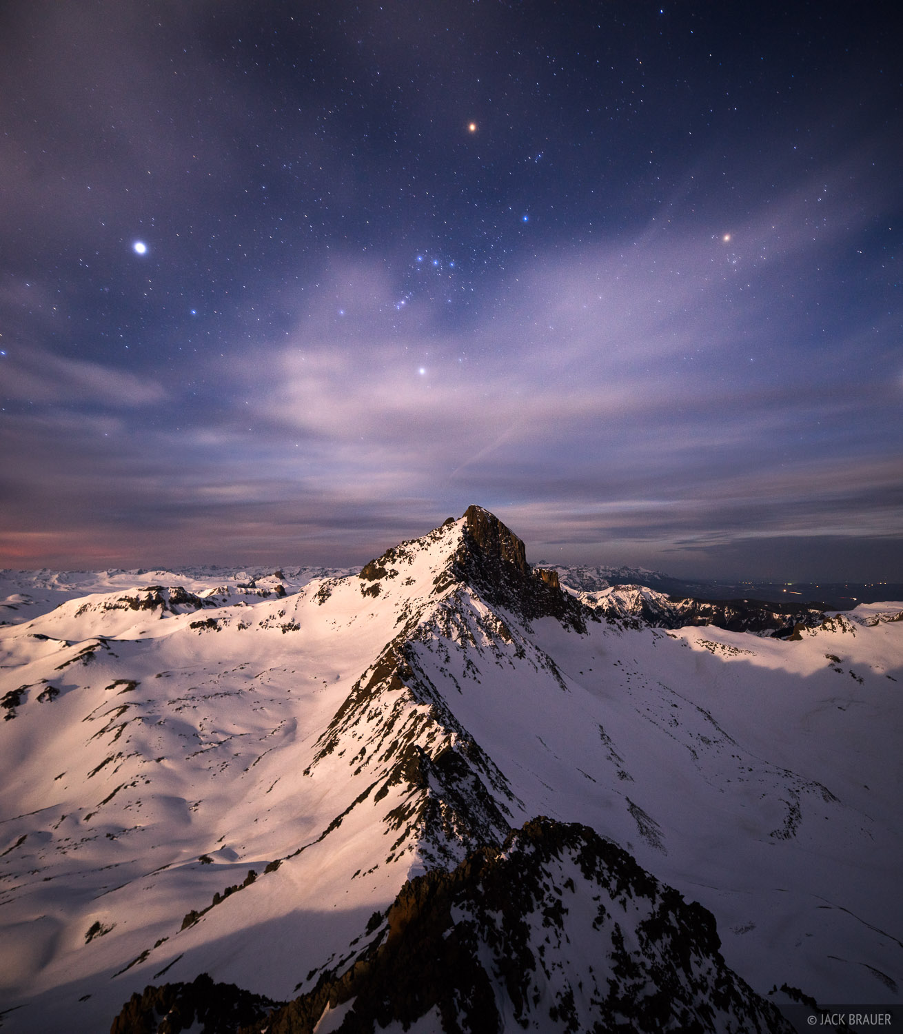 Colorado, San Juan Mountains, Uncompahgre Wilderness, Wetterhorn Peak, Matterhorn Peak, stars, moonlight, photo